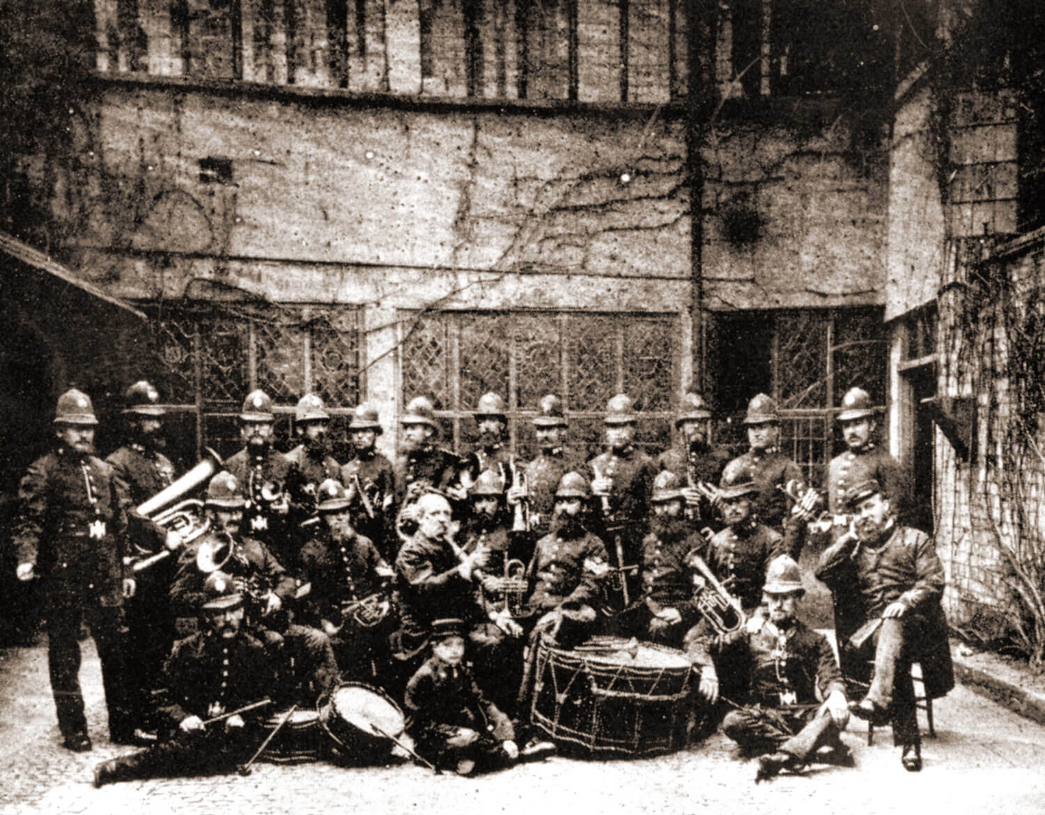 The Police Band in the Leicester Guildhall courtyard late 1870s -