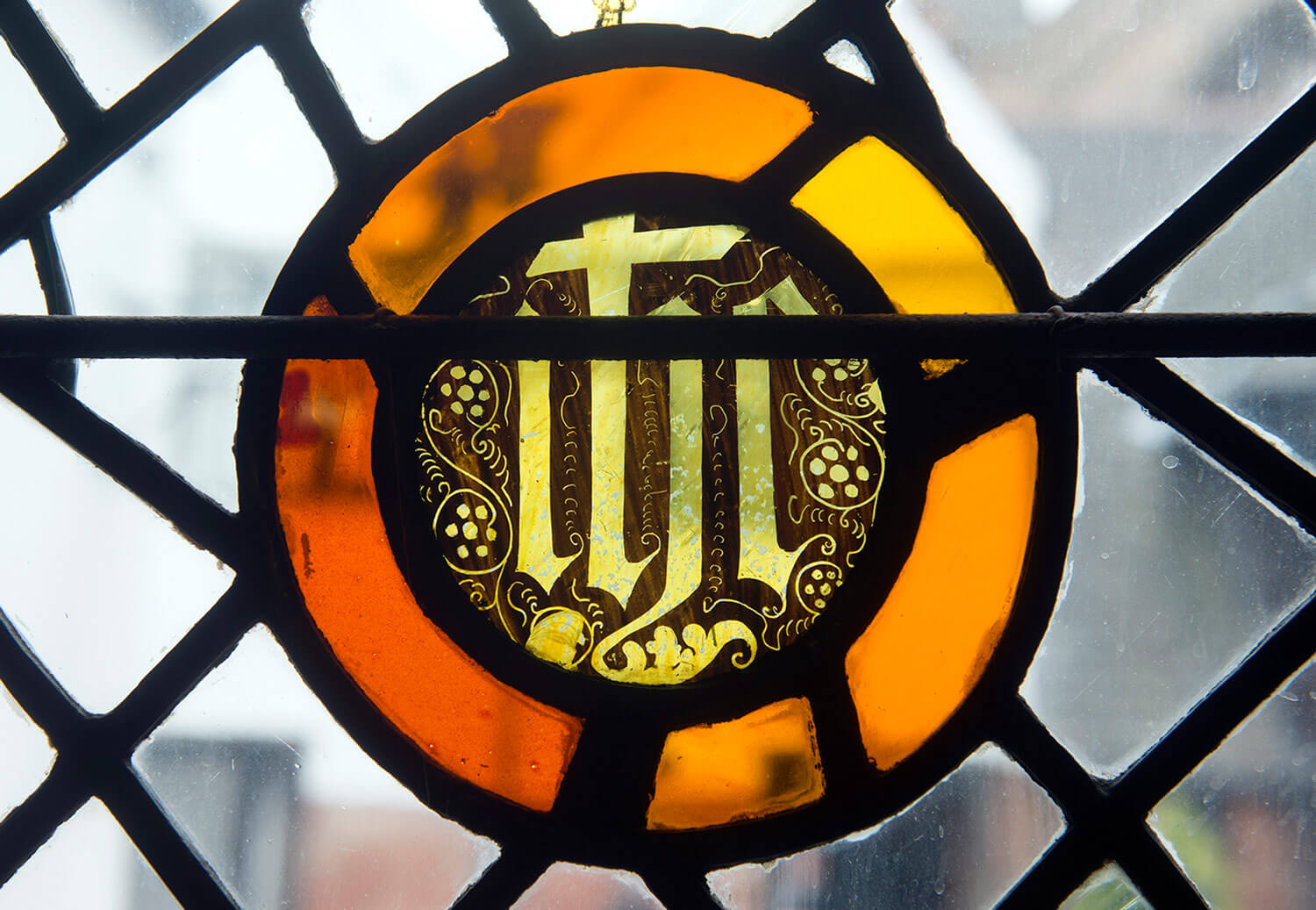 Painted glass on display at Leicester Guildhall -