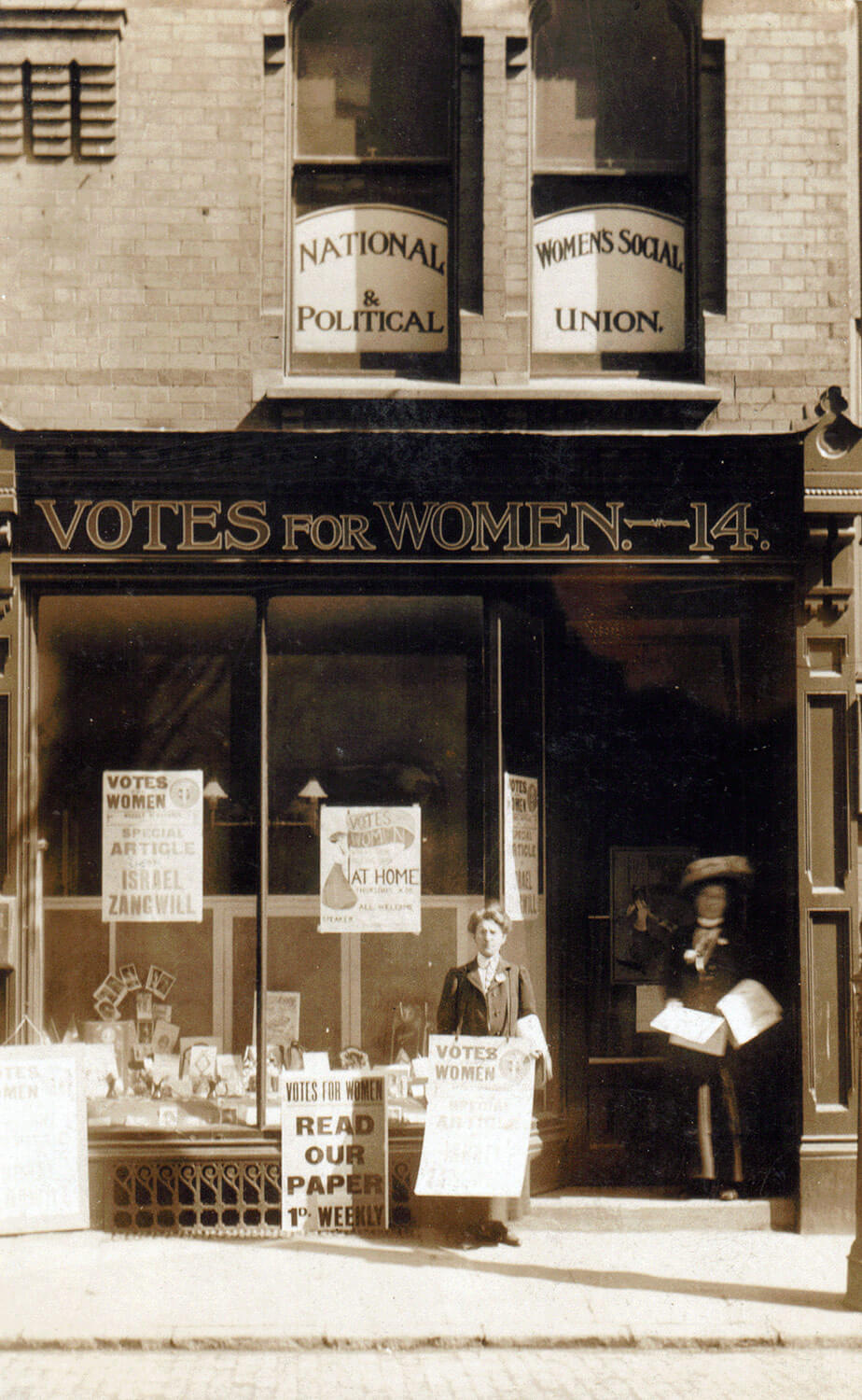 The WSPU shop at 14 Bowling Green Street -