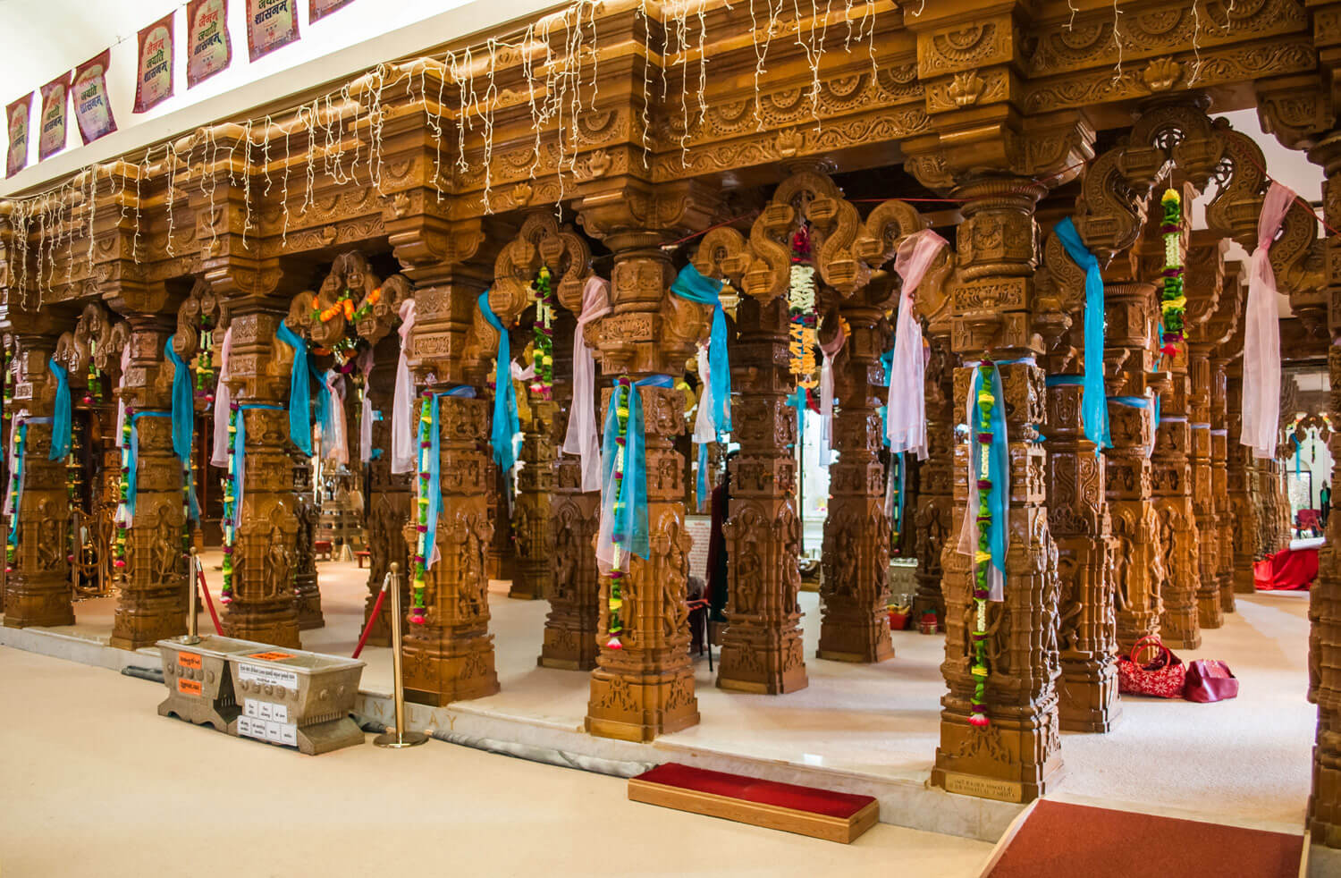 Carved stone pillars that make up the Garbhagriha (inner sanctum) -