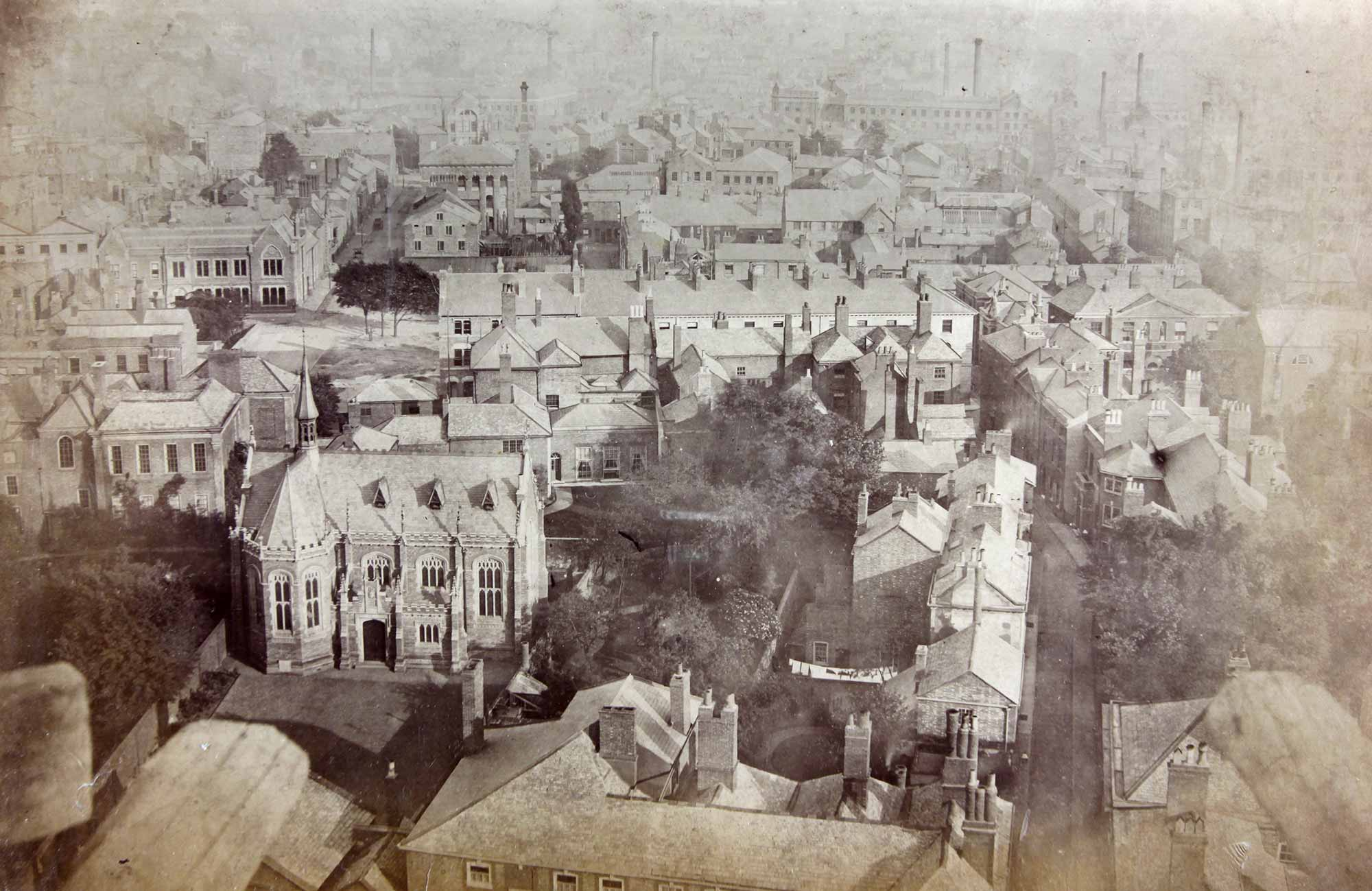 A view across the rear of Friar Lane, taken from the top of the Cathedral spire c.1867 17 Friar Lane is to the middle left with 4 long windows at the back -