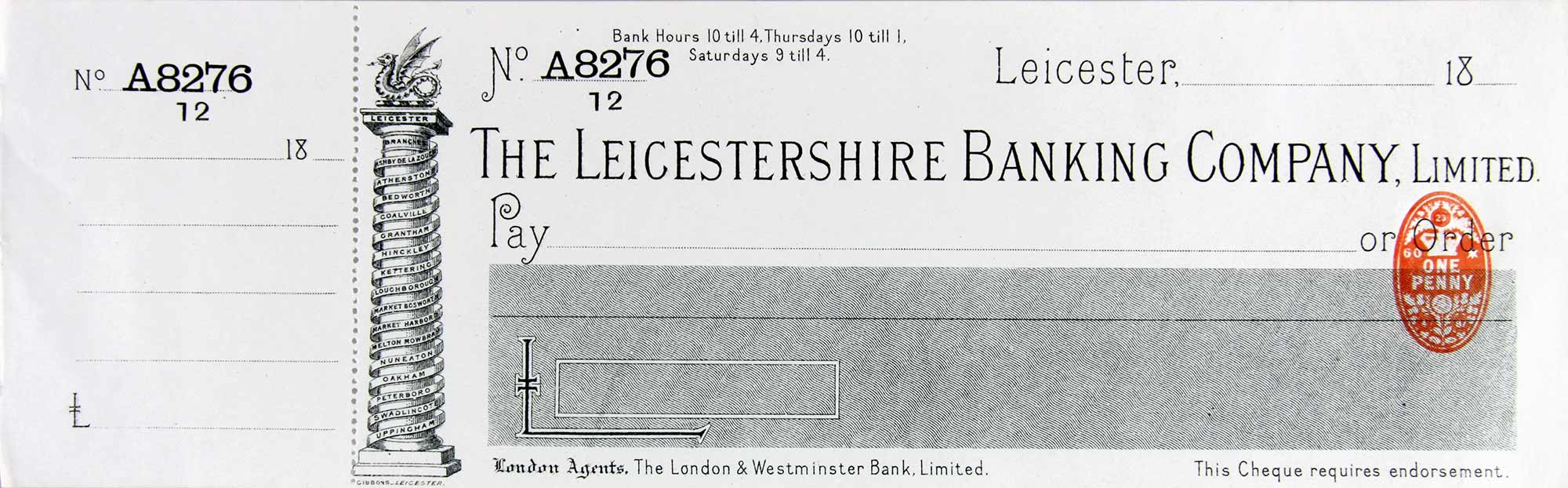 Cheque circa 1870s - Leicester and Leicestershire Record Office