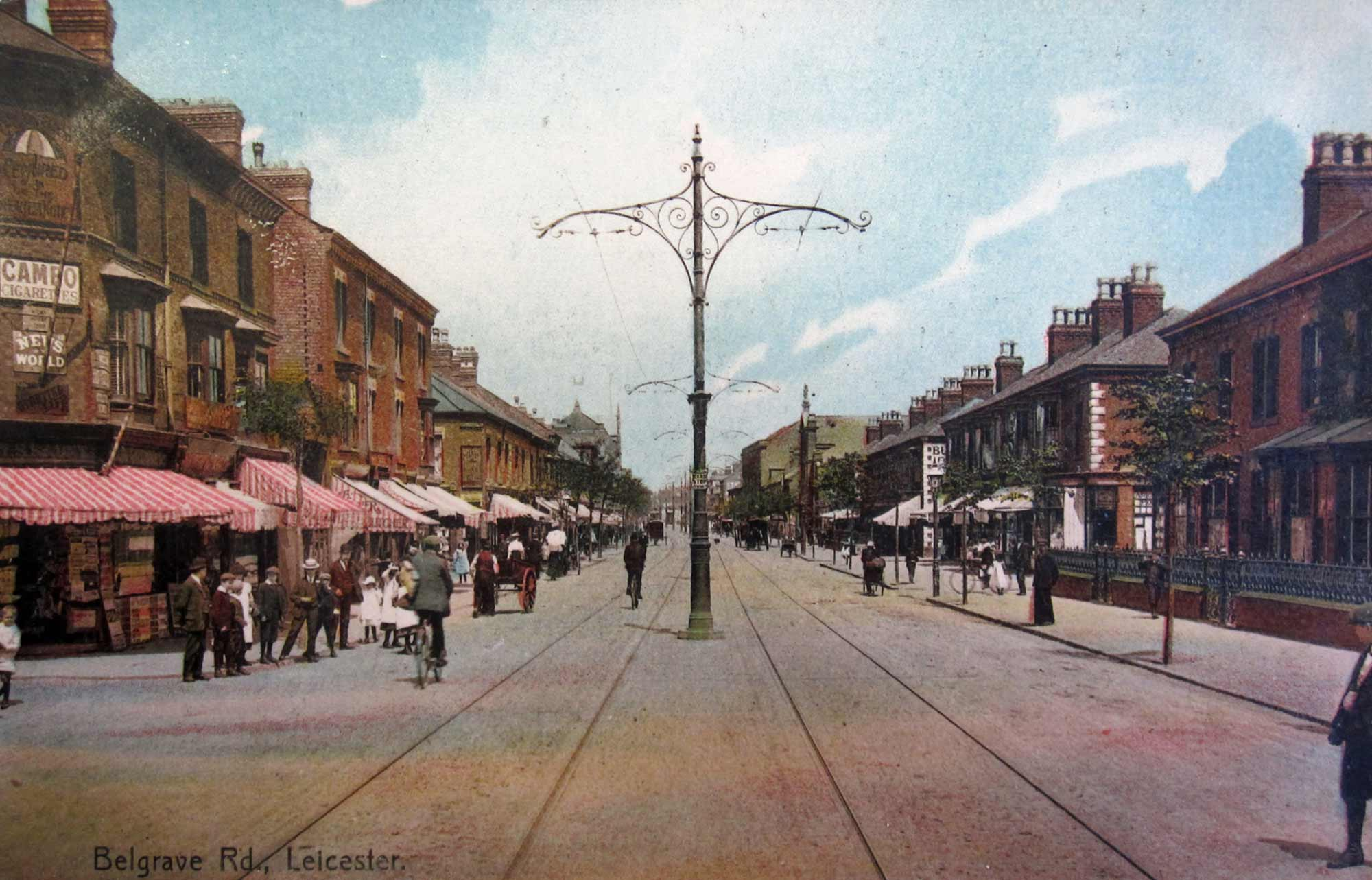 A hand coloured postcard showing Belgrave Road in 1904 - Leicester and Leicestershire Record Office
