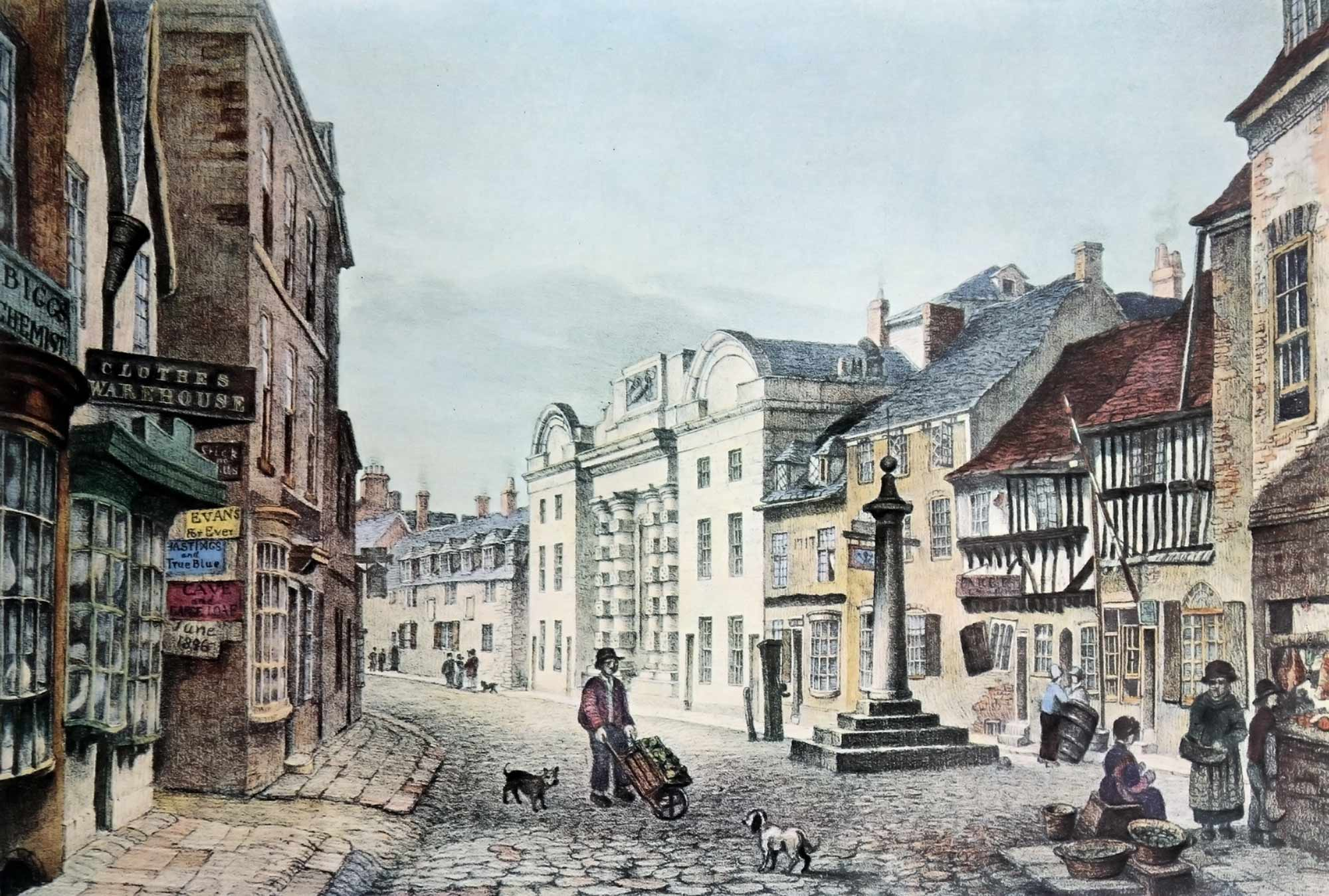 Borough Gaol from Highcross Street by John Flower, 1830 -