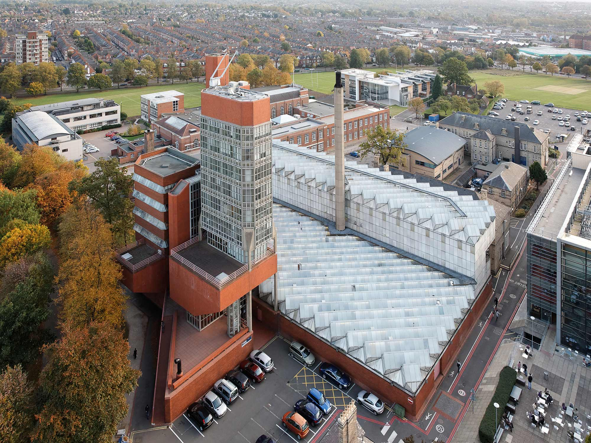 An aerial view of the building as it looks today - University of Leicester