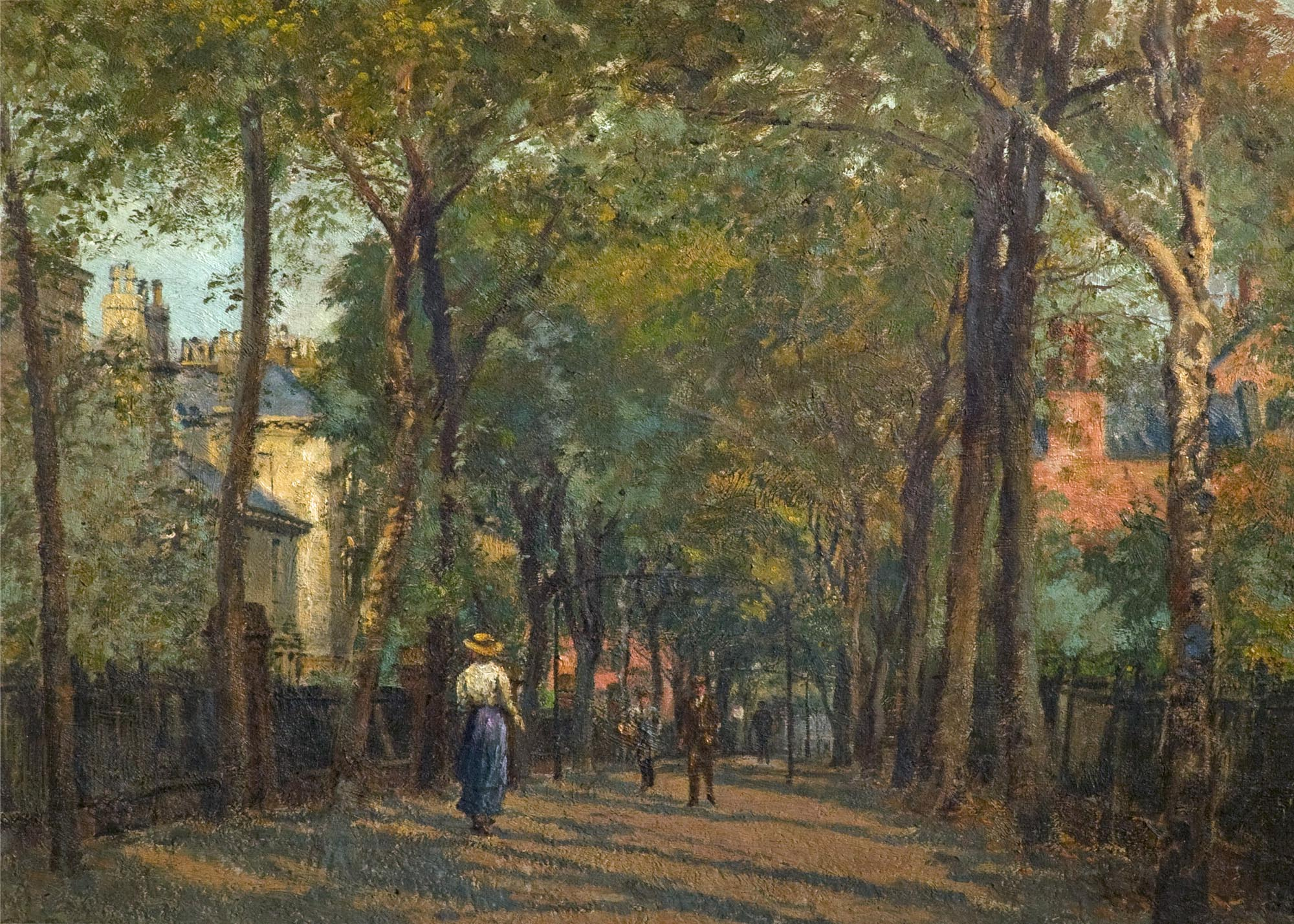 The New Walk, Leicester by George Moore Henton. Oil 1914 -
