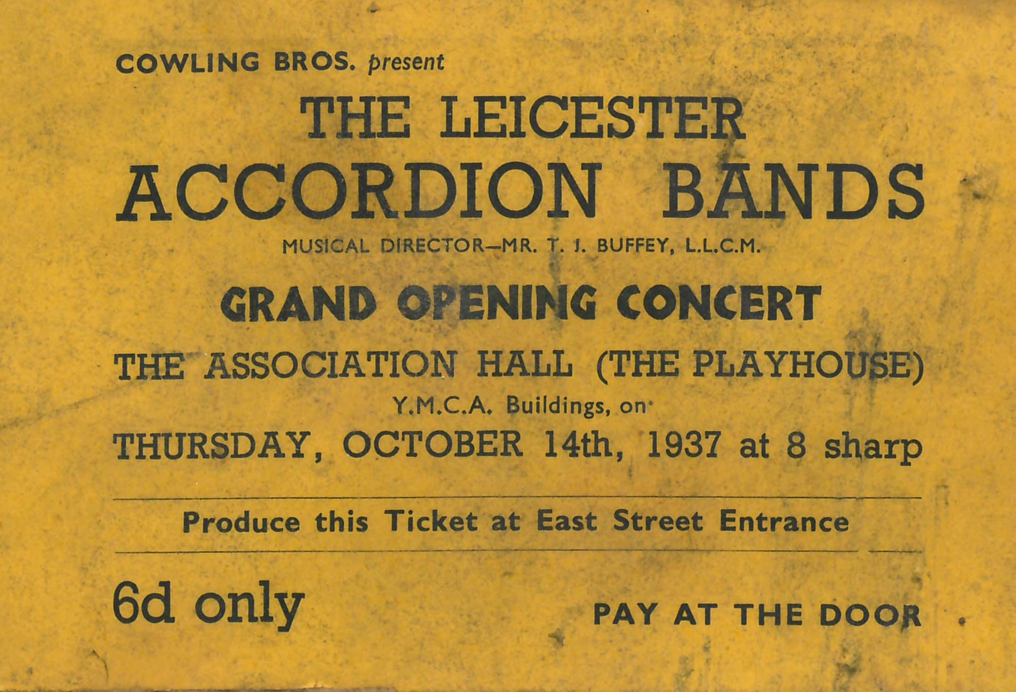 A ticket from a 1937 performance -