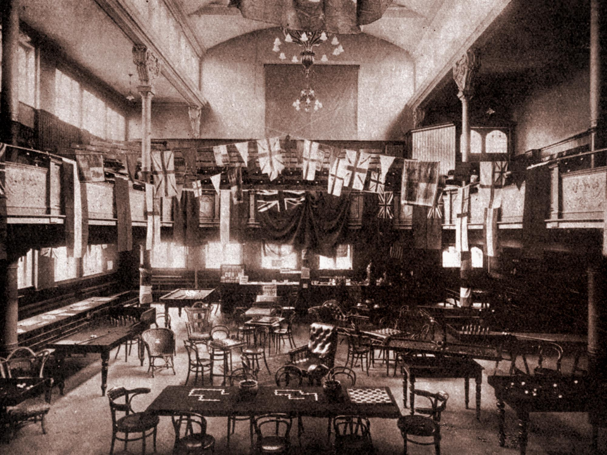 Interior of the YMCA during WWI, 1915 -