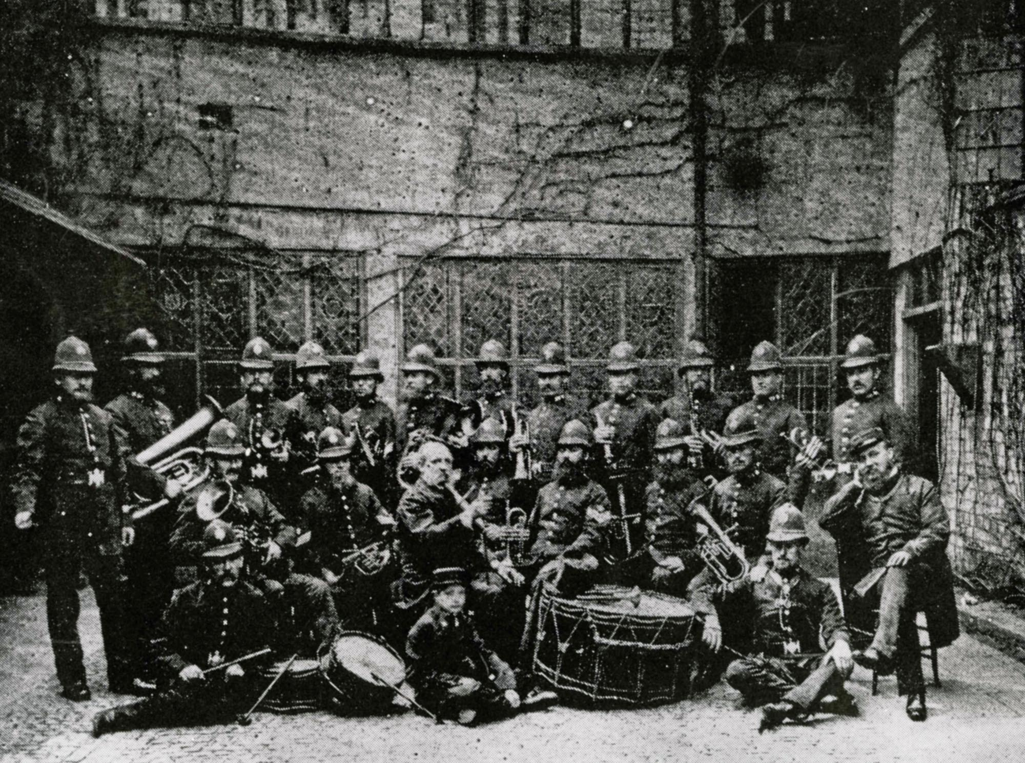 Leicester Borough Police Band, c.1865 in the courtyard of what is now Leicester Guildhall -