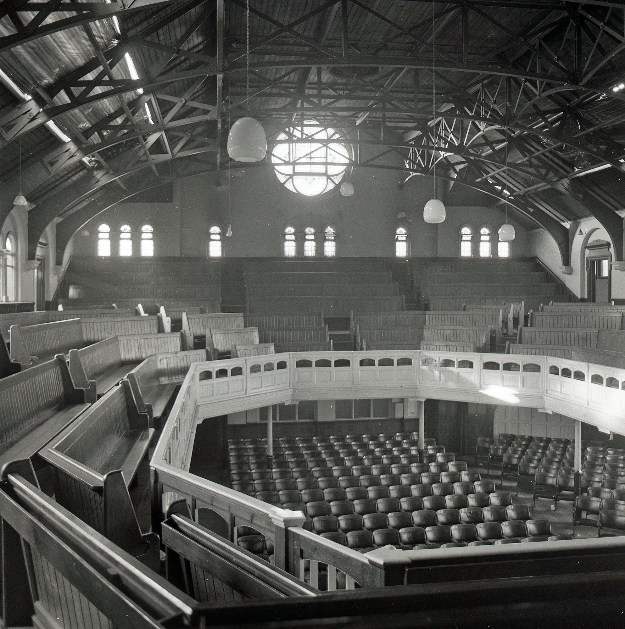 Interior of the Wesleyan Methodist Church in 1975, after it closed -