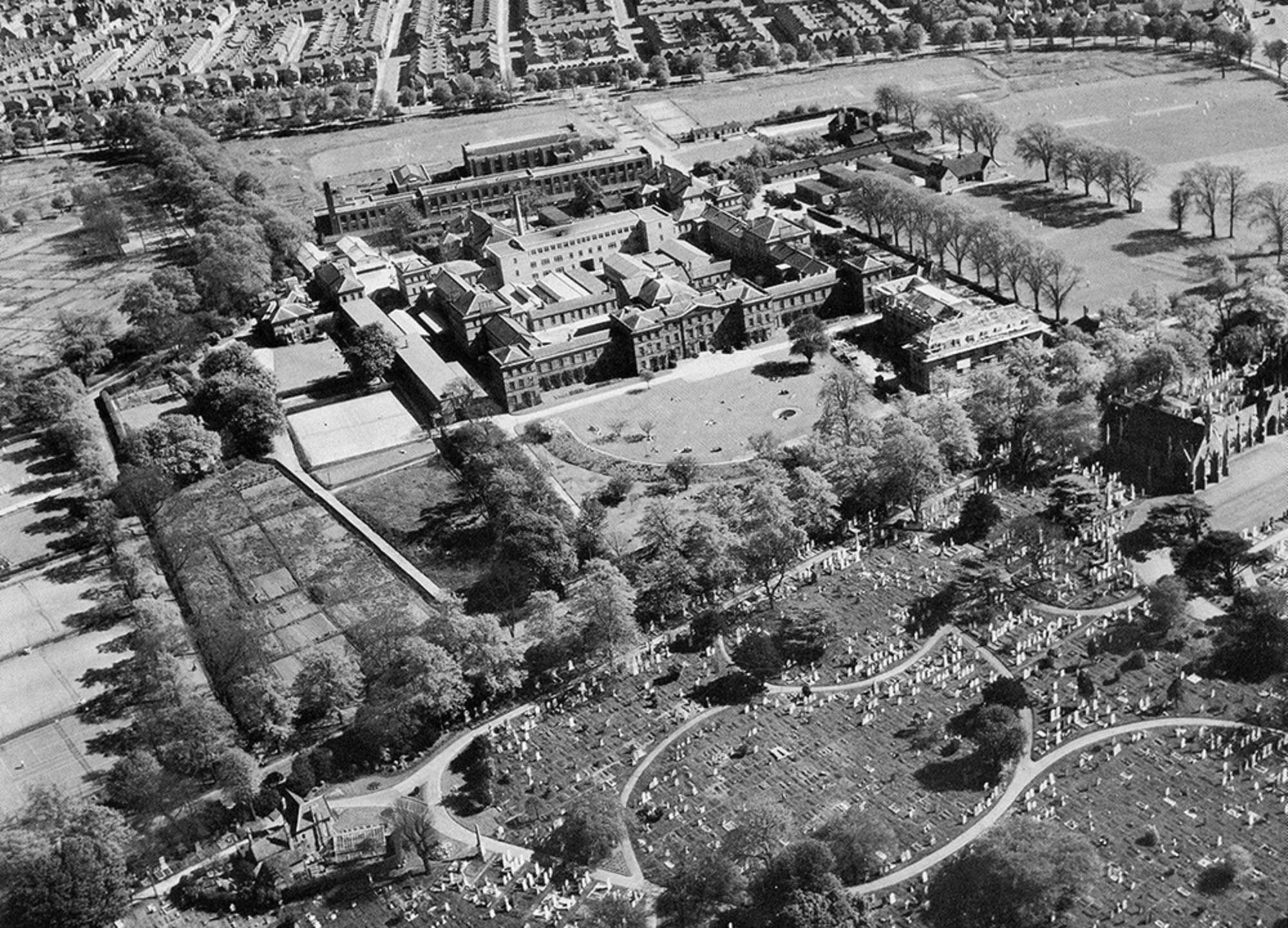 Showing the cemetery (bottom) and the Fielding Johnson Building at Leicester University (top) c.1950s - Friends of Welford Road Cemetery