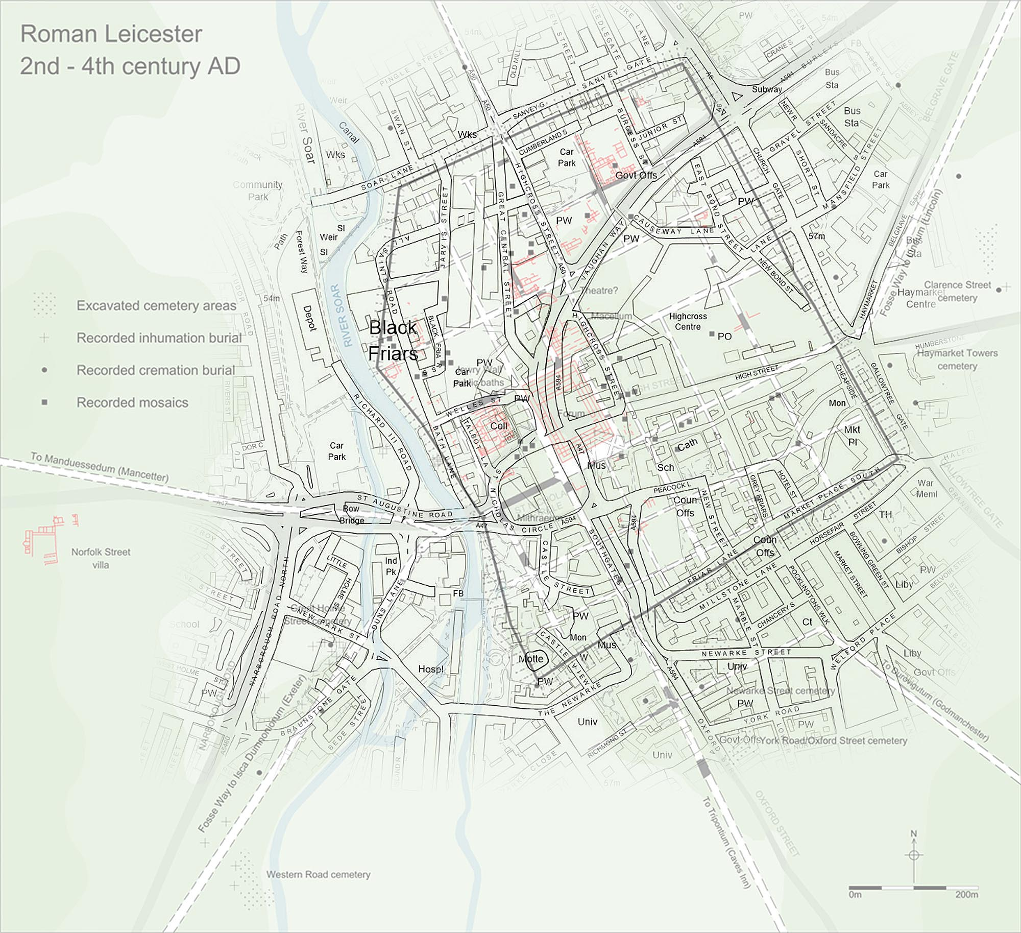Plan of Roman Leicester with modern road overlay - University of Leicester Archaeological Services