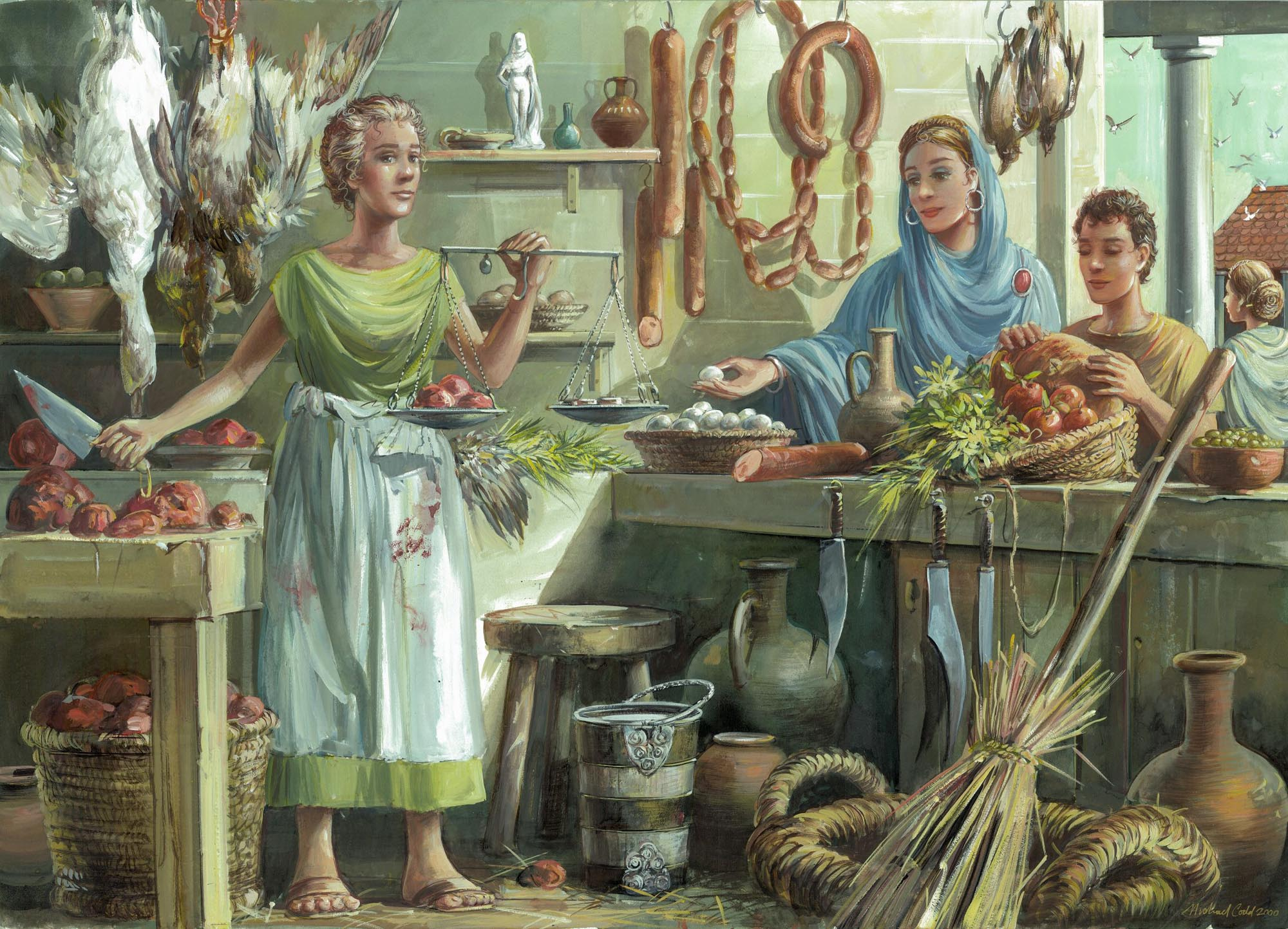 Fresh meat and vegetables on sale in a Roman shop - Mike Codd / Leicester Arts & Museums Service
