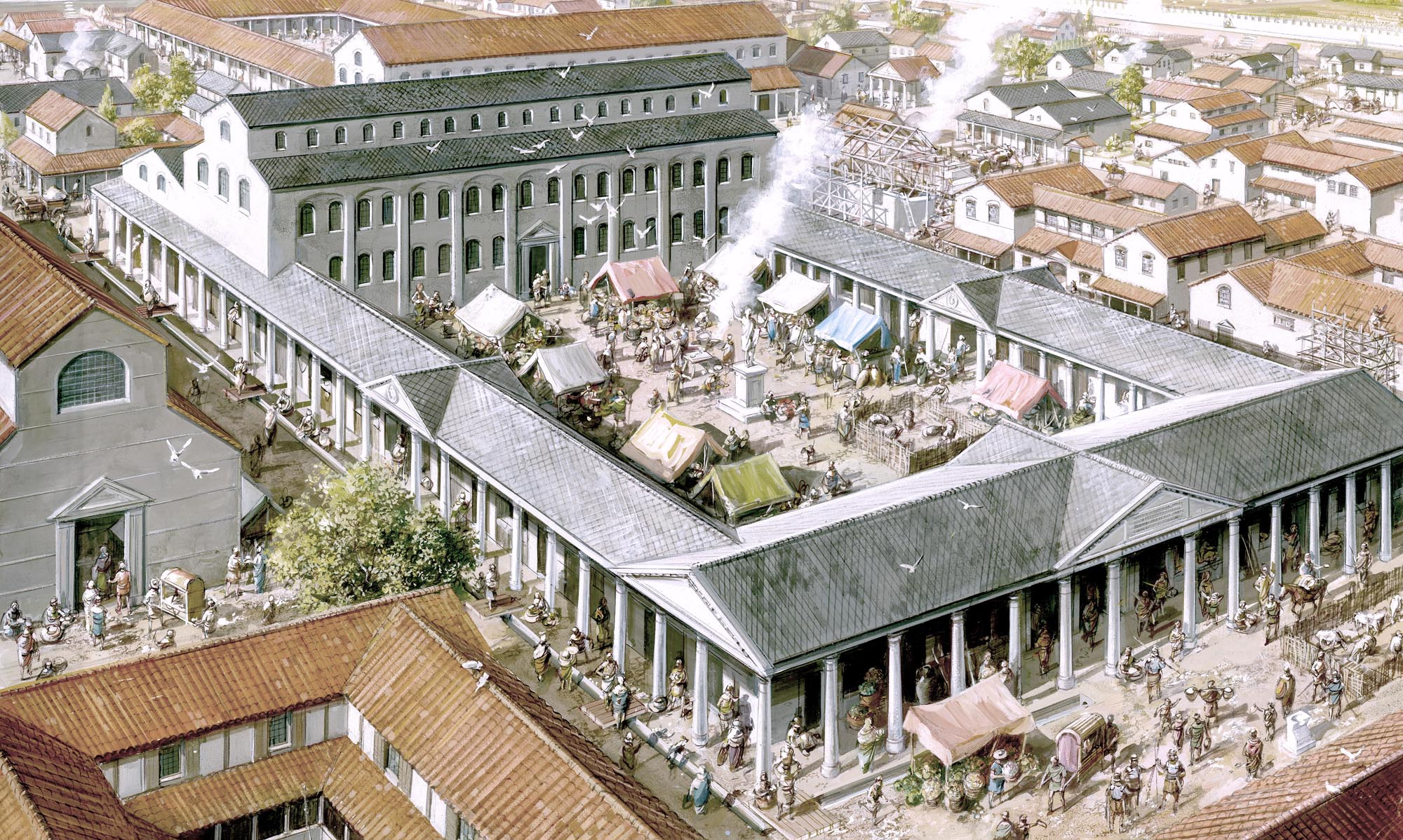 The Roman Forum and Basilica as they may have looked from the south-west during the early 3rd century CE - Mike Codd / Leicester Arts and Museums Service