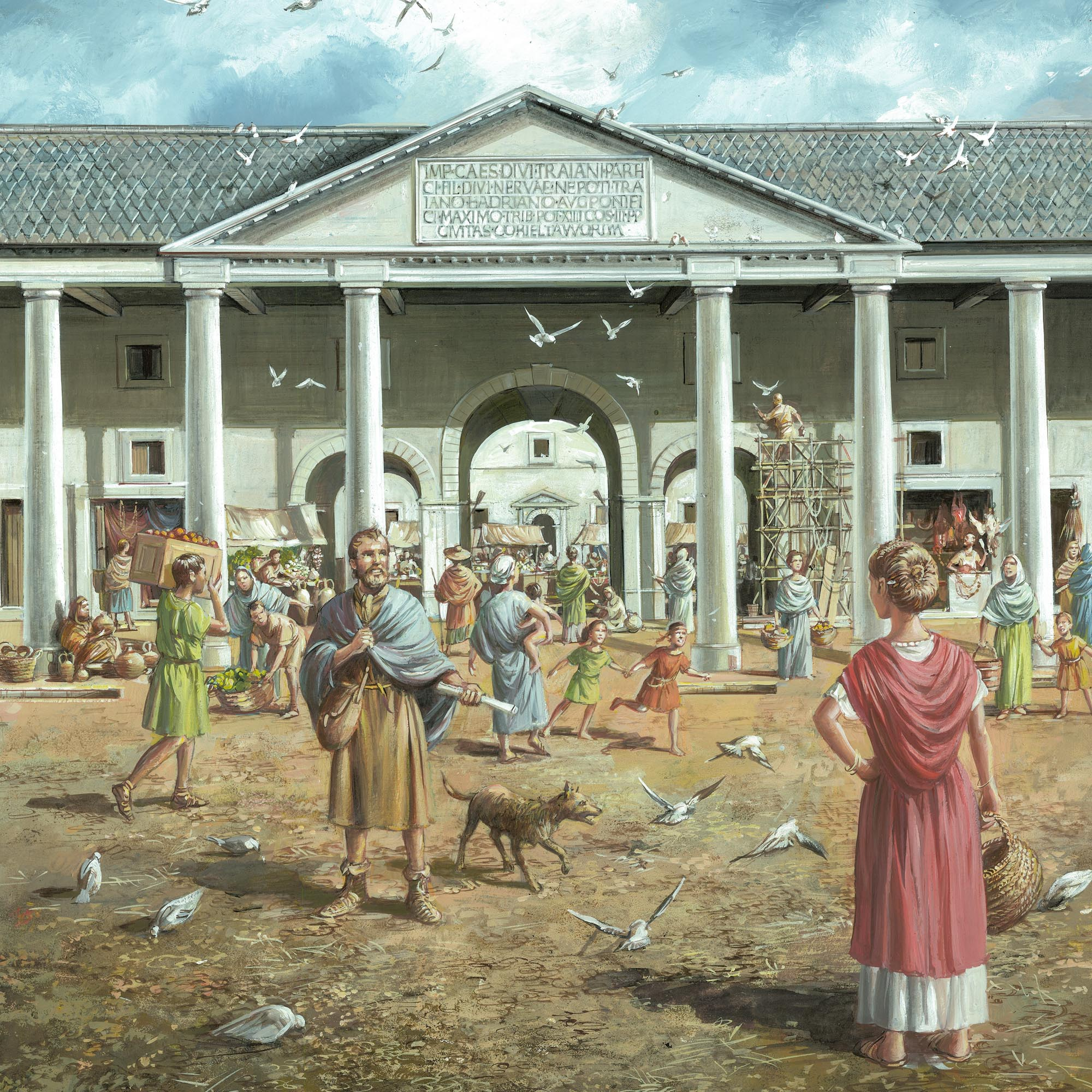The entrance to the Roman forum as it may have looked during the 2nd and 3rdc century CE - Mike Codd / Leicester Arts and Museums Service