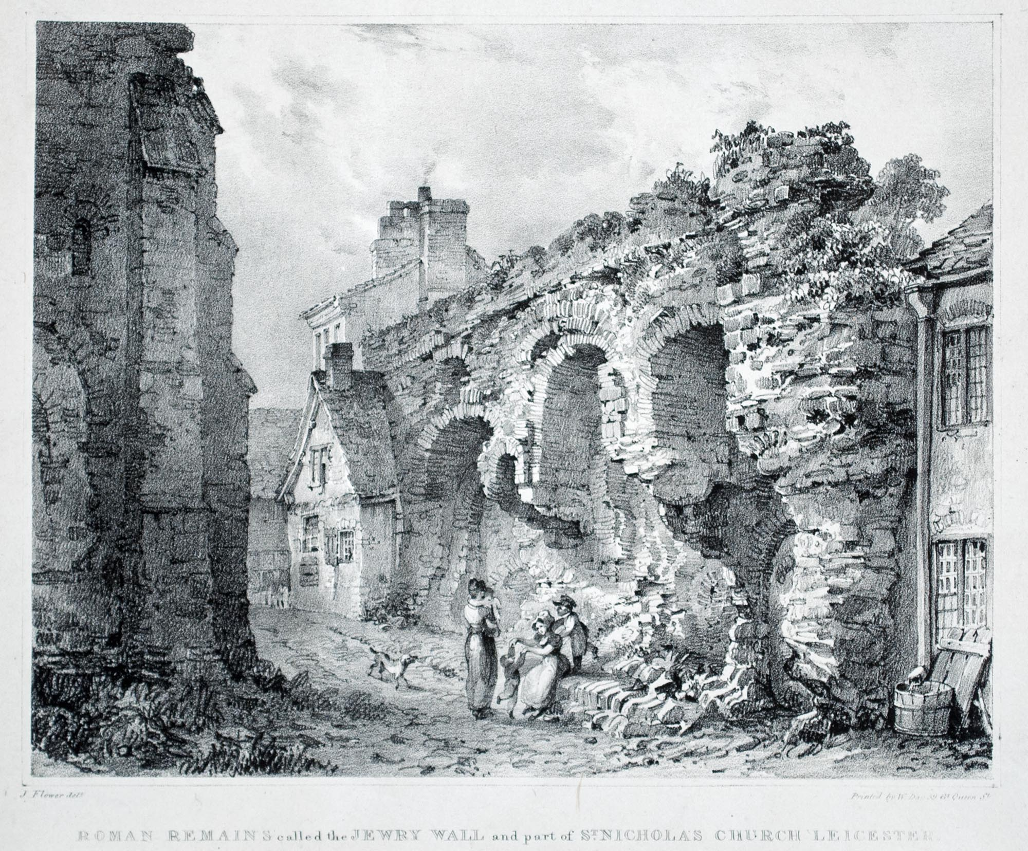 'Roman Remains called the Jewry Wall' by J. Flower, 1836 -