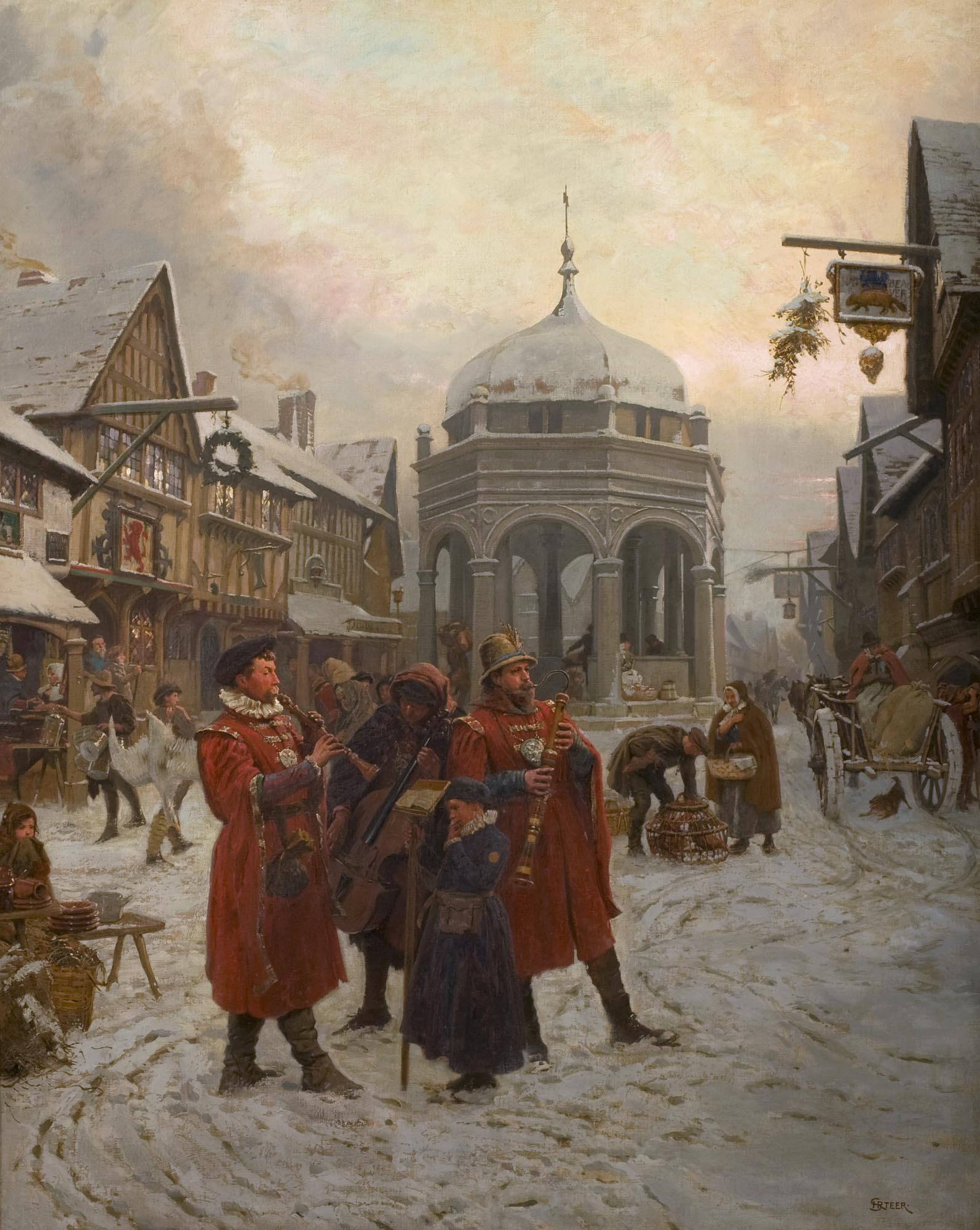 'Christmas Eve, Highcross Market, Leicester 16th century' oil painting, 1900, by Henry Reynolds Steer -