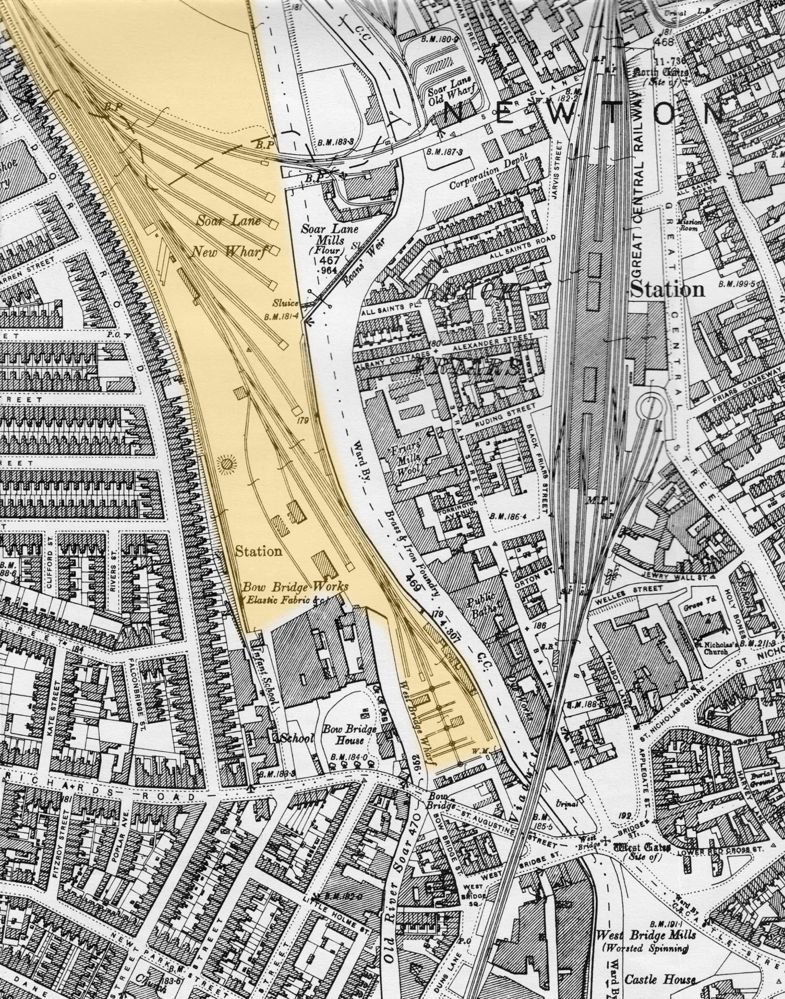 Map showing the West Bridge Station and railway sidings highlighted in yellow -