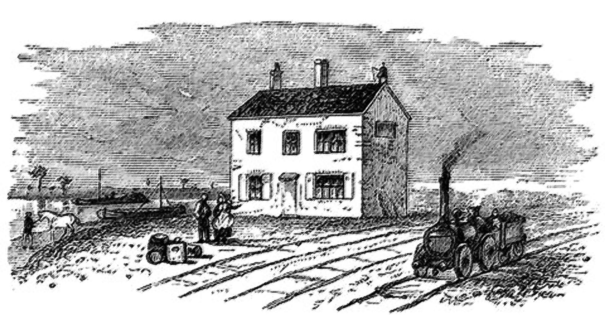An etching of the first West Bridge Station, before the platform was added -