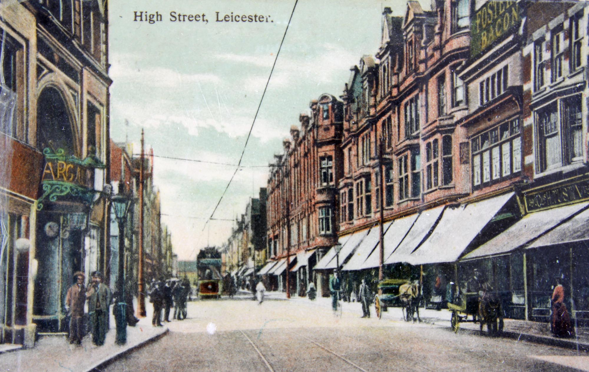 'High Street, Leicester' a postcard from around 1910 - Leicestershire Record Office