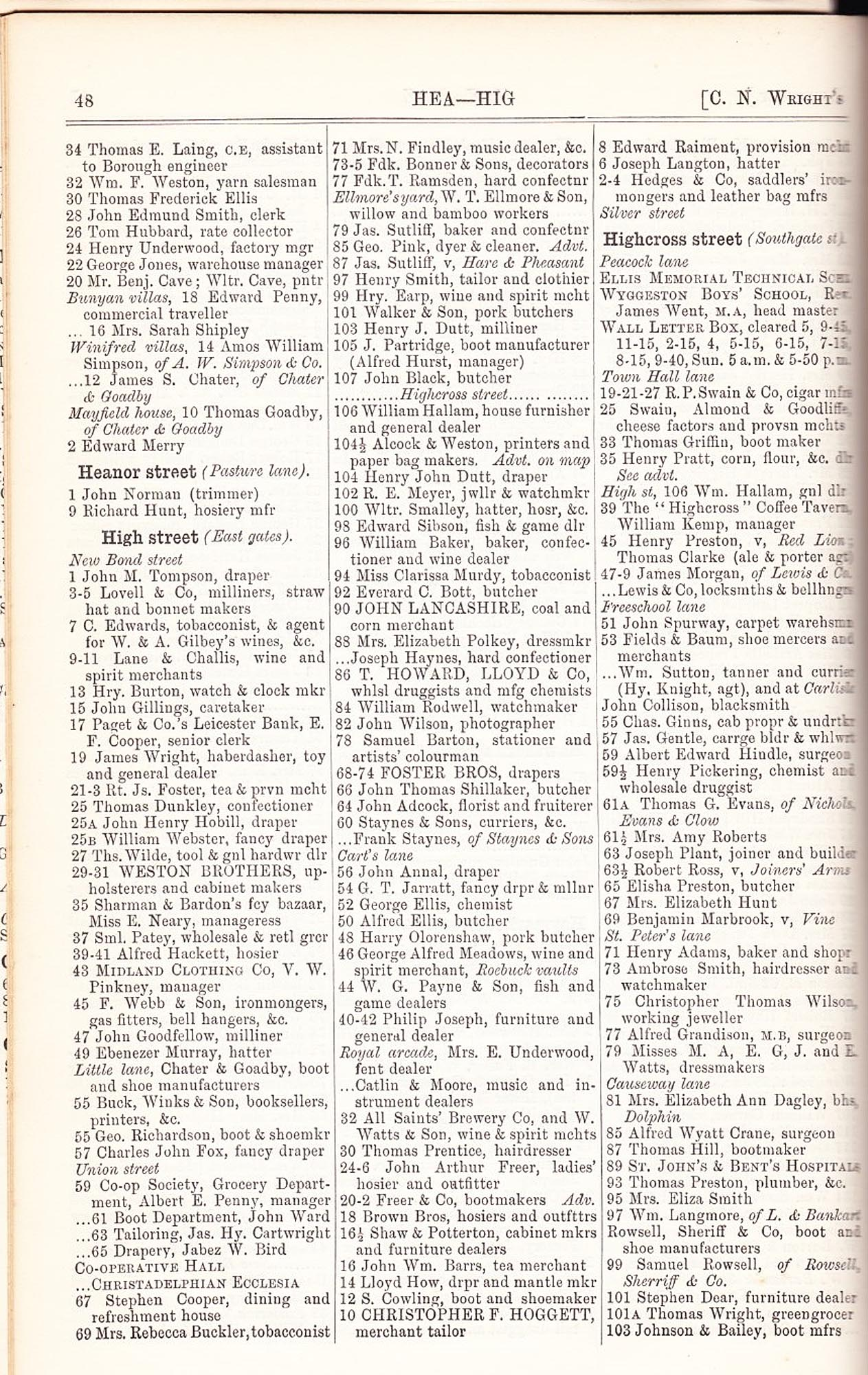 Wrights Directory listing businesses on High Street in 1892 -