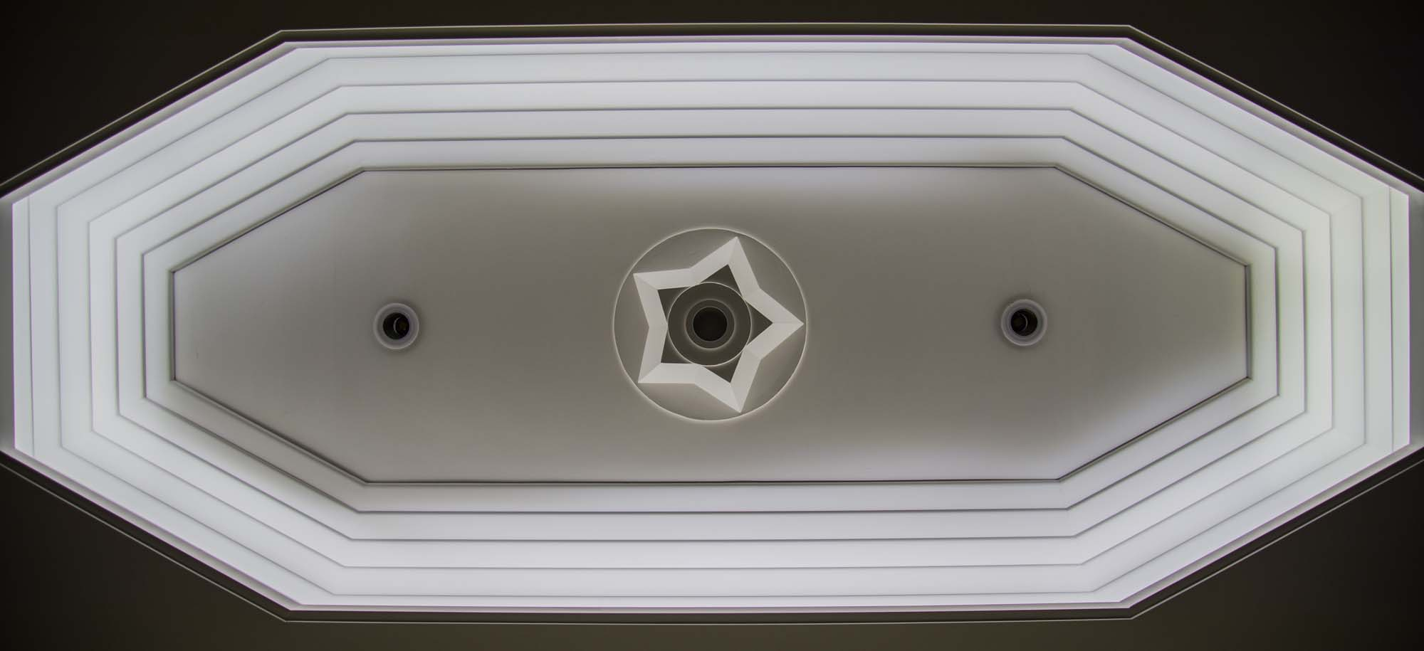 An Art Deco ceiling light well in City Hall -