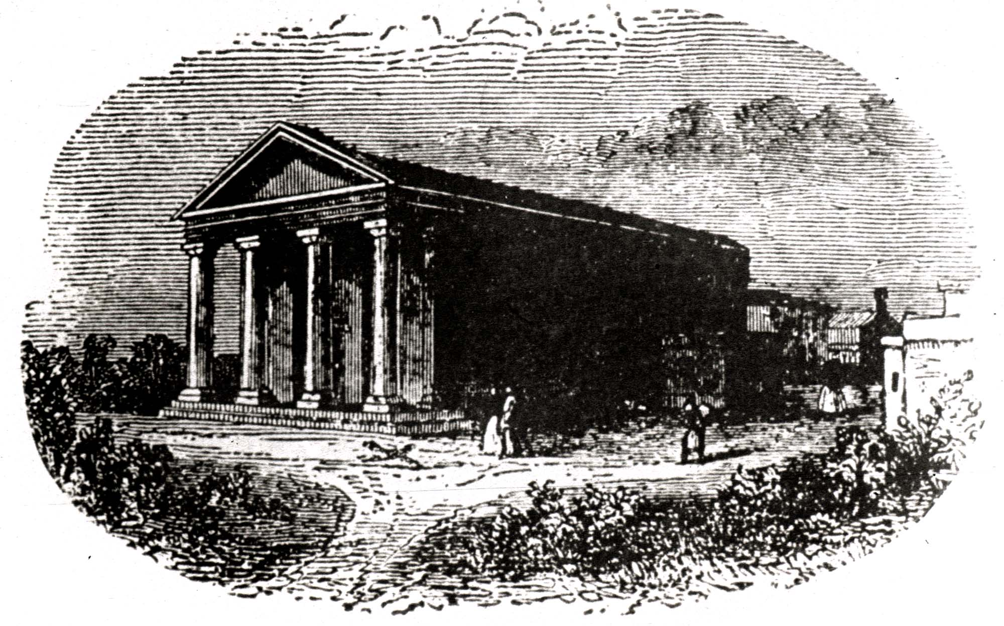 The Proprietary School Building in 1840 before the various additions and extensions -