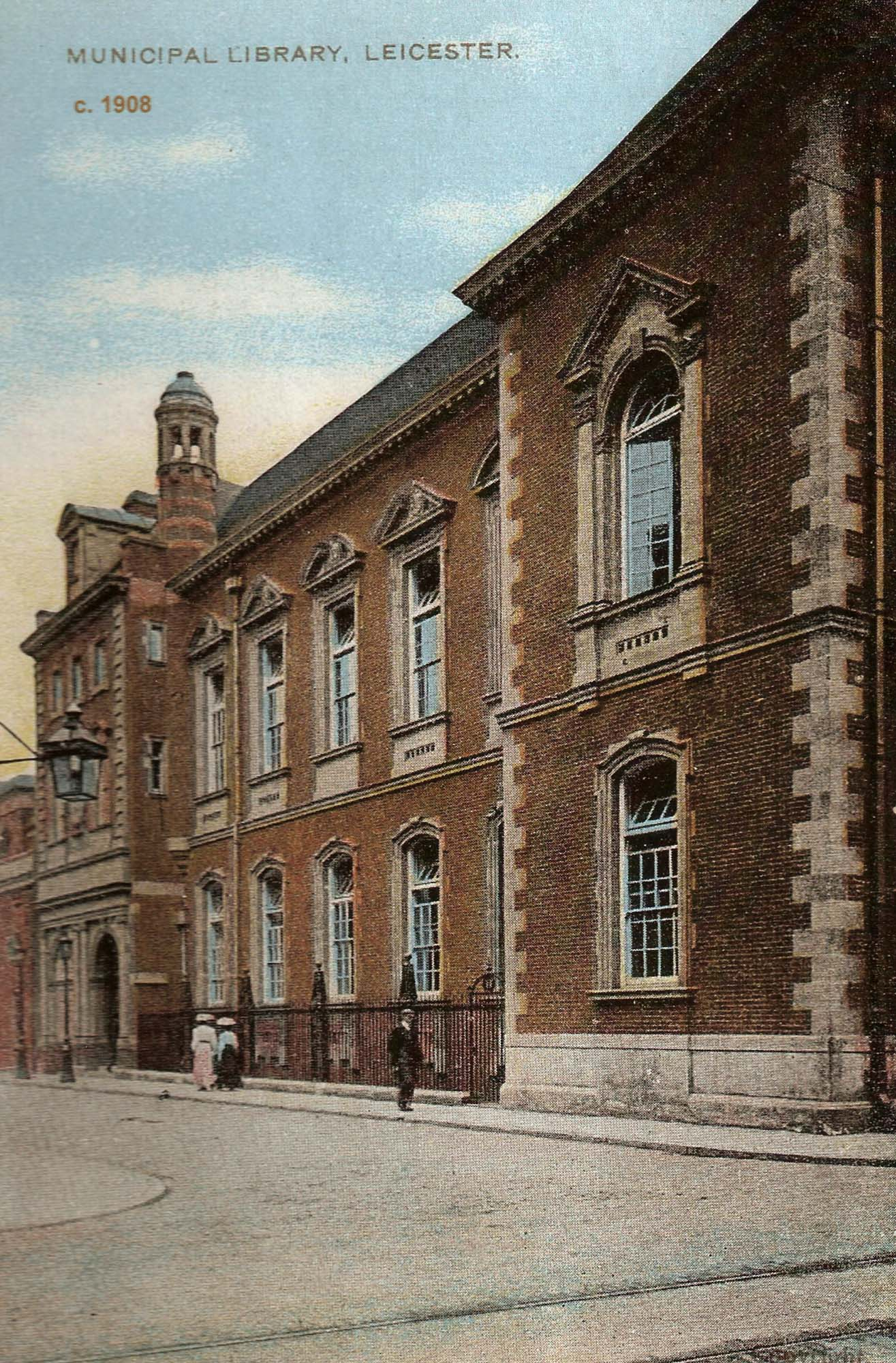 Colour postcard of the Library in 1908 -
