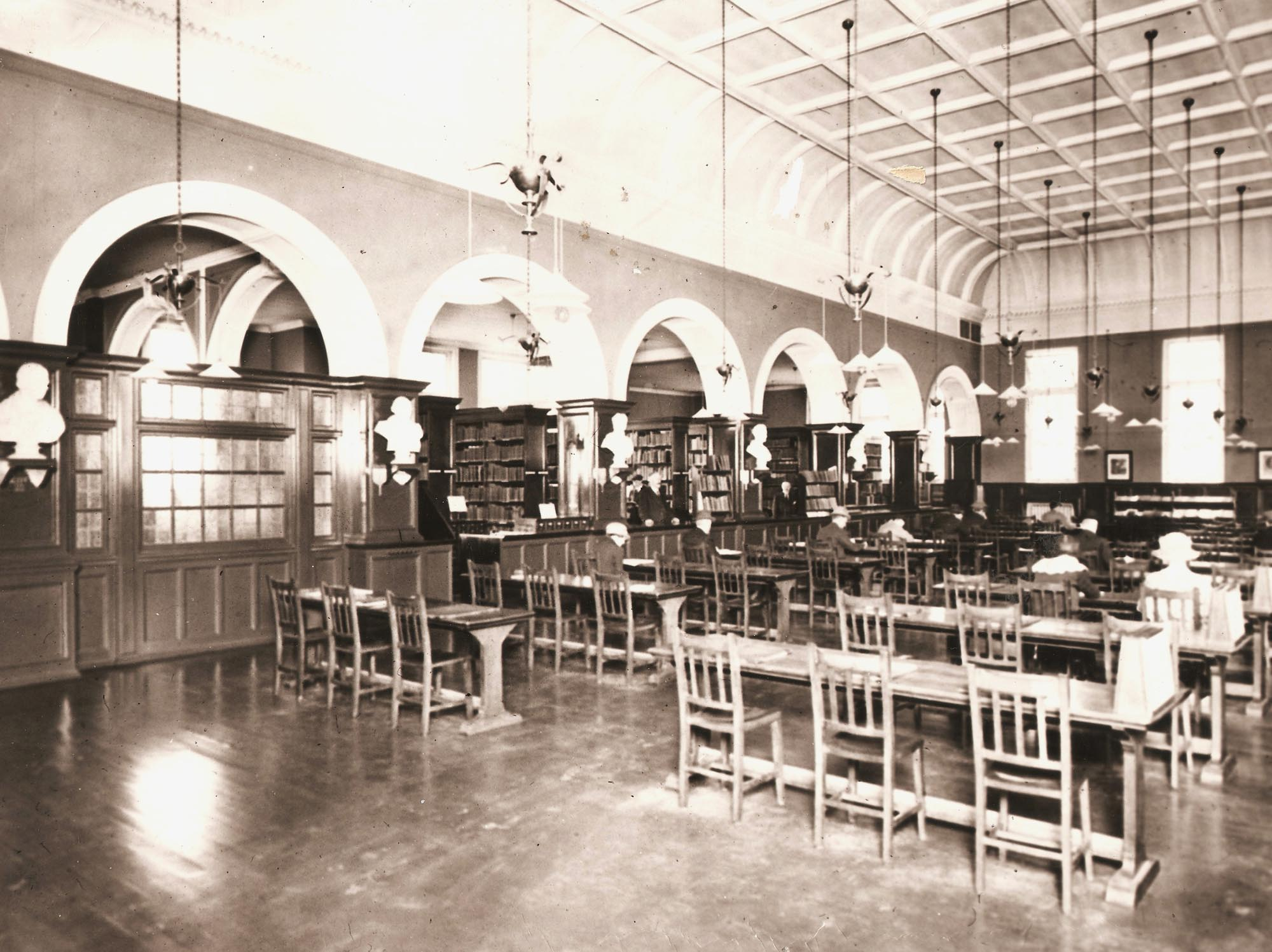 The Library interior in 1924 -