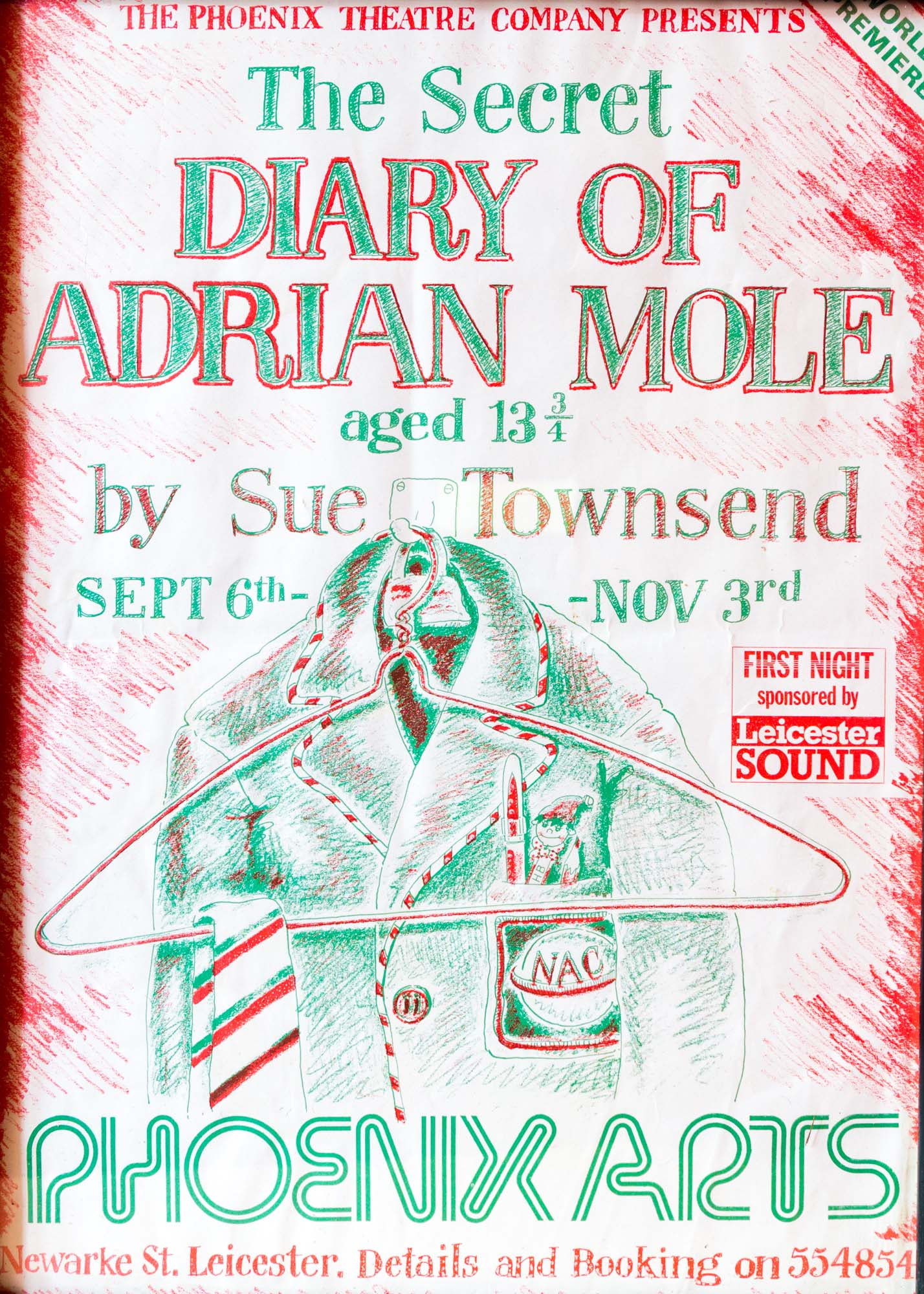 Poster for the production of 'Adrian Mole Aged 13 ¼' at Phoenix Arts - University of Leicester Special Collections