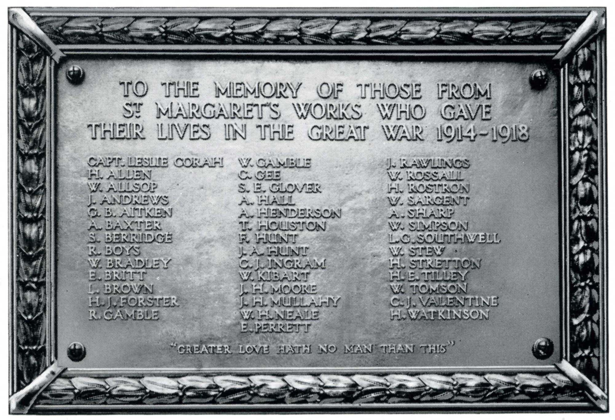 Memorial plaque for employees of the Corah's St Margaret's Works killed in the First World War -