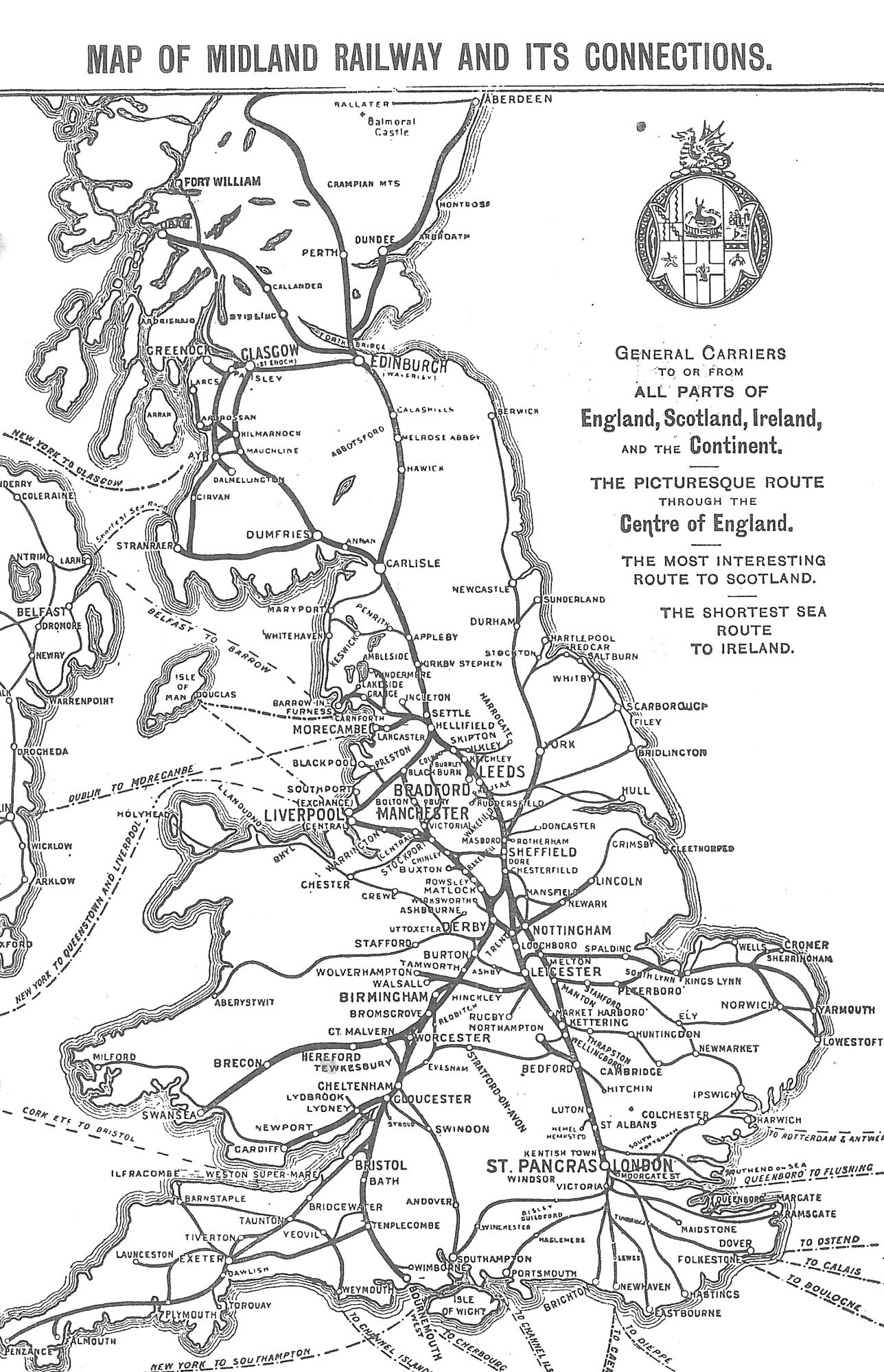 Map showing the Midland Railway connections, 1897 -
