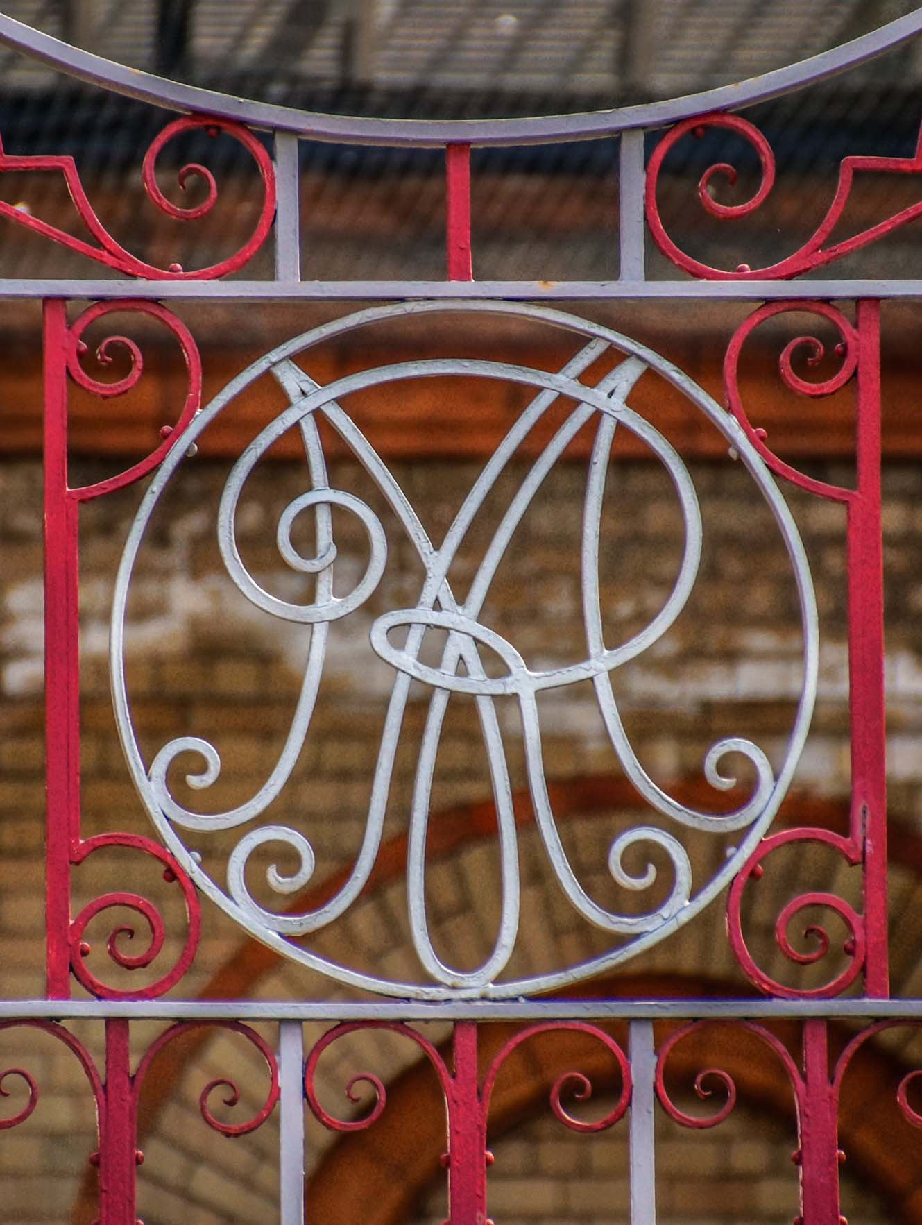 'MR' on an ironwork gate at the Station - John Brown