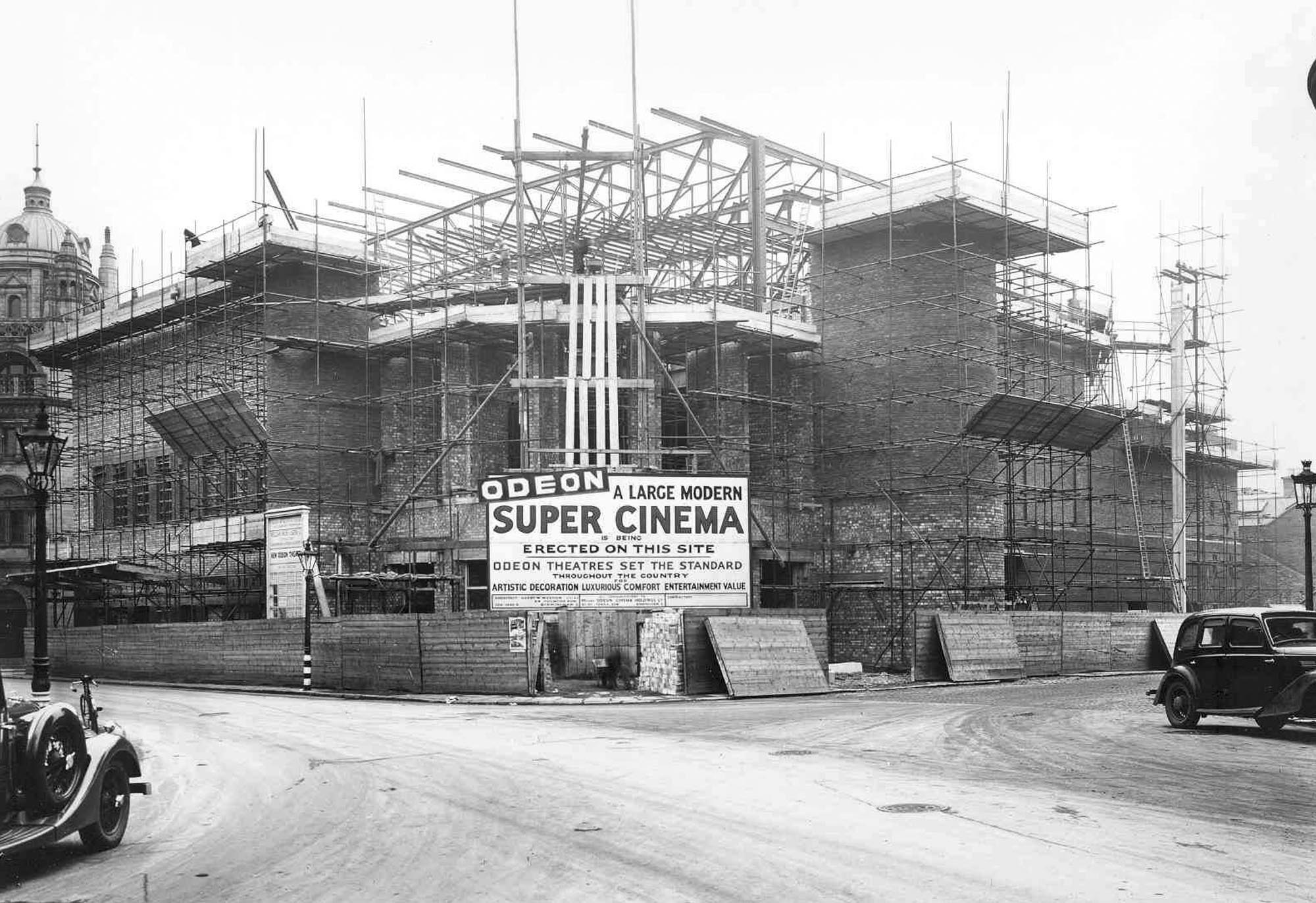 The cinema from the front during construction, 1937 - Affective Digital Histories, University of Leicester