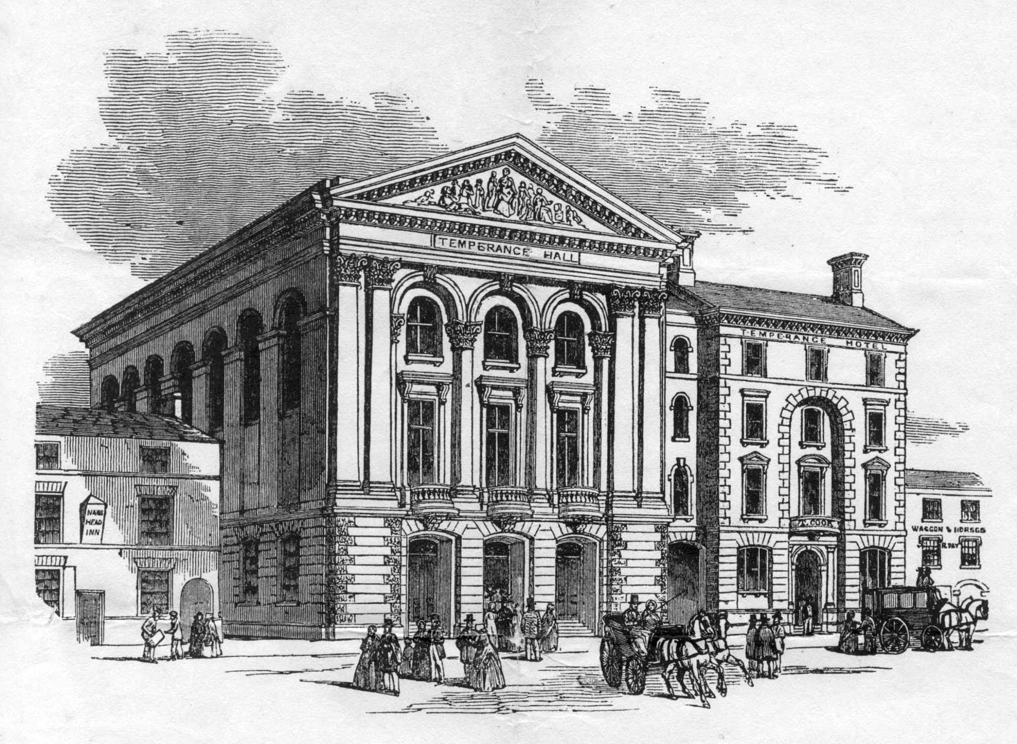 An etching of the Temperance Hotel and Hall - Thomas Cook Archives