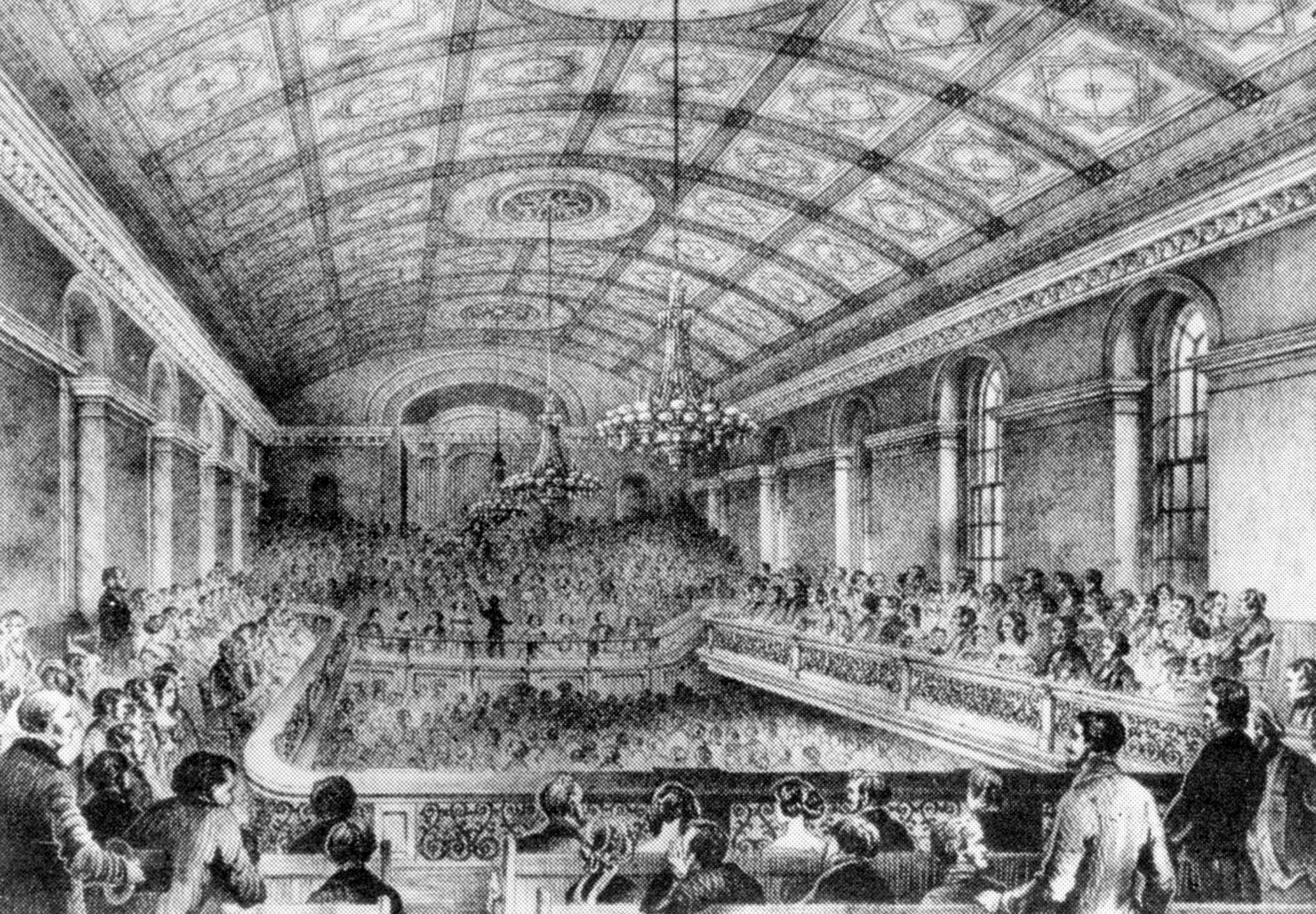 A drawing of the interior of the Temperance Hall in its heyday - Thomas Cook Archives