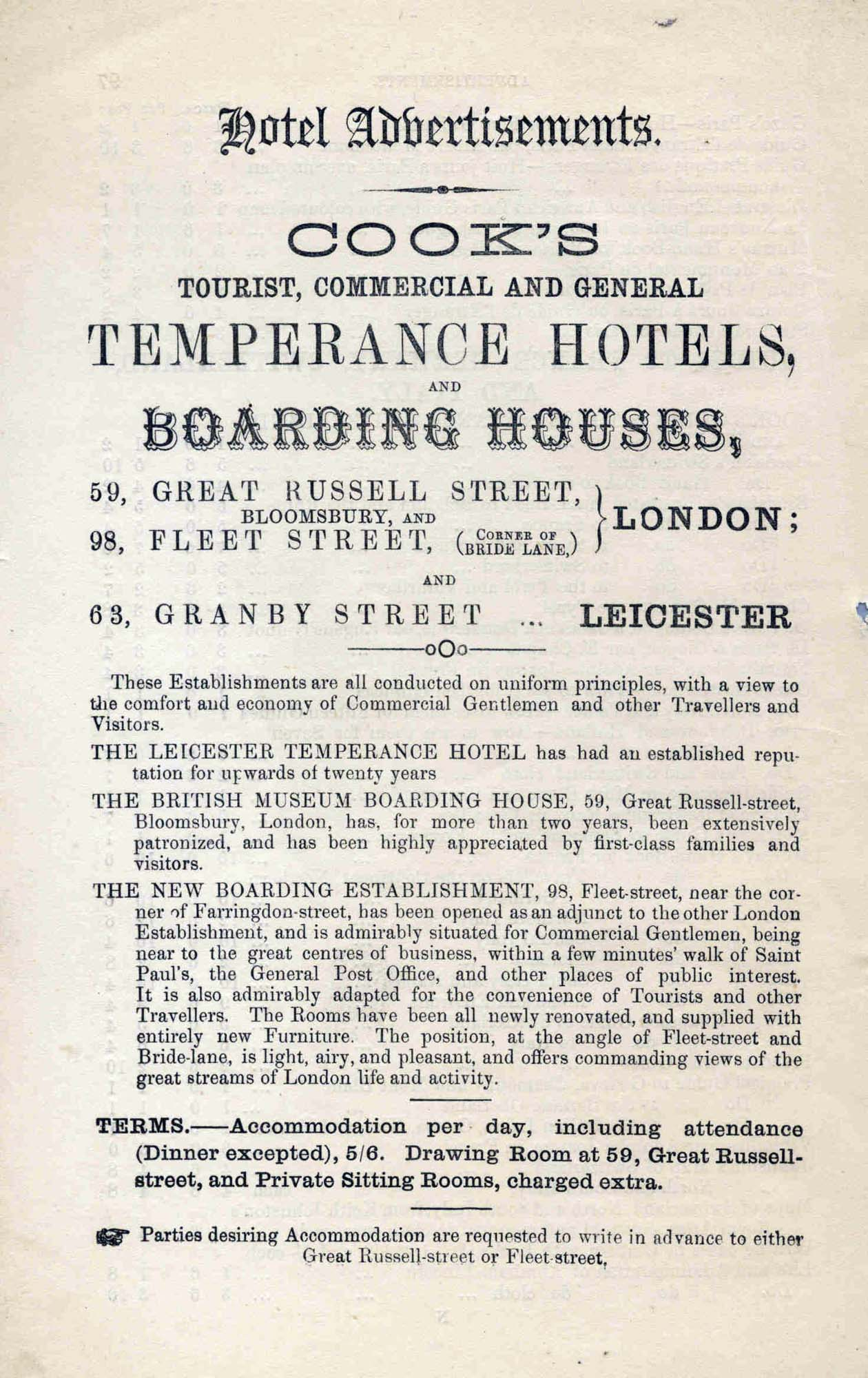 An advertisement for Cook's Temperance Hotel - Thomas Cook Archives