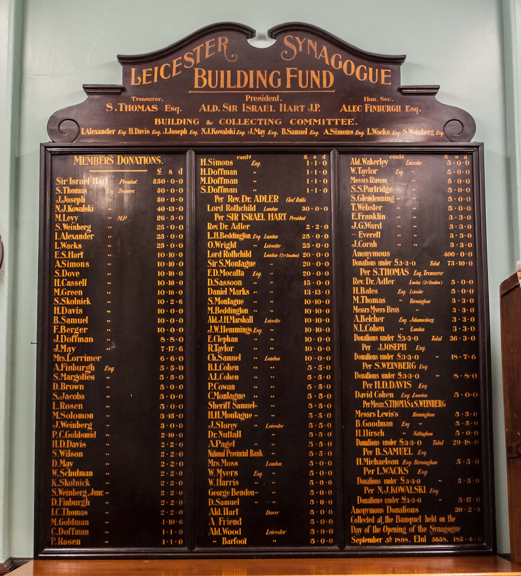 A plaque listing the contributors to the building fund -