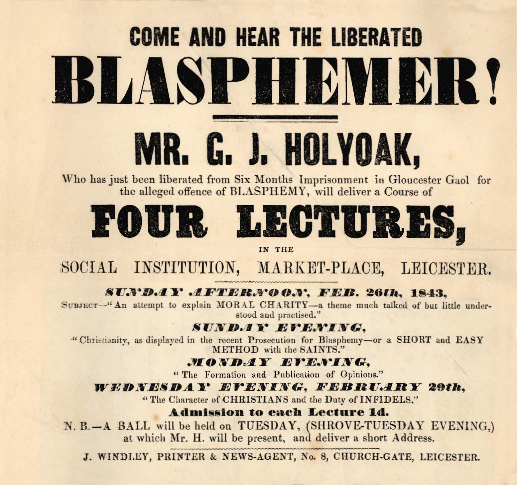 Advert for a talk by Mr. G.J. Holyoak, who was imprisoned for blasphemy -