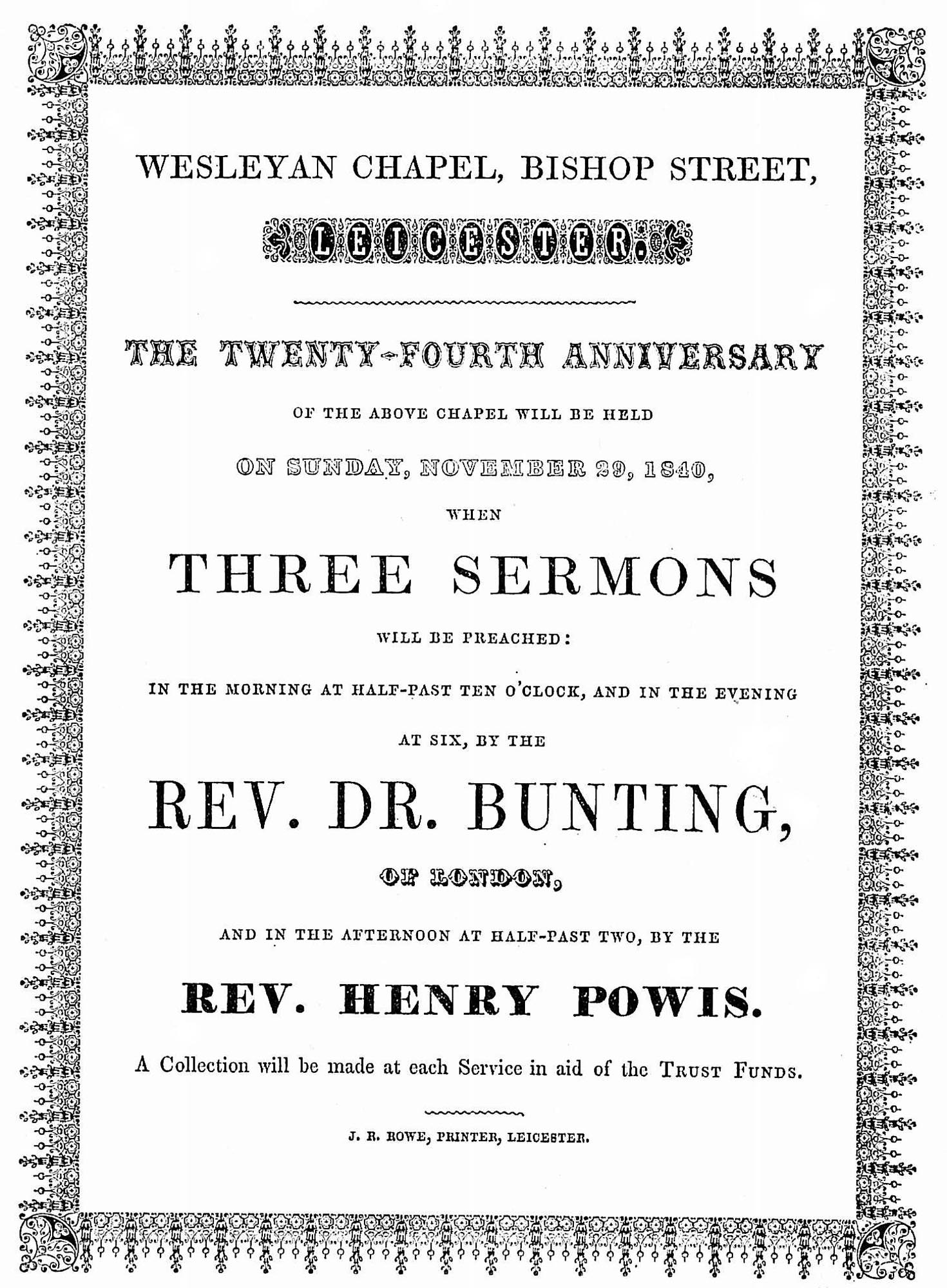 A poster for the chapel's 24th anniversary sermons, 1840 -