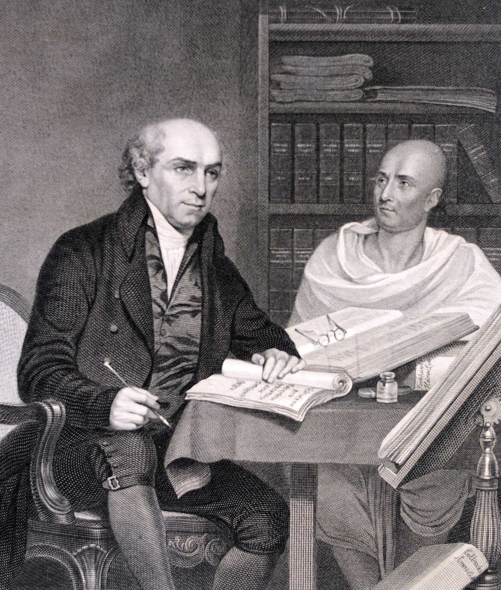 A print showing William Carey with his Indian translator at The College of Fort William, Calcutta, 1813 -
