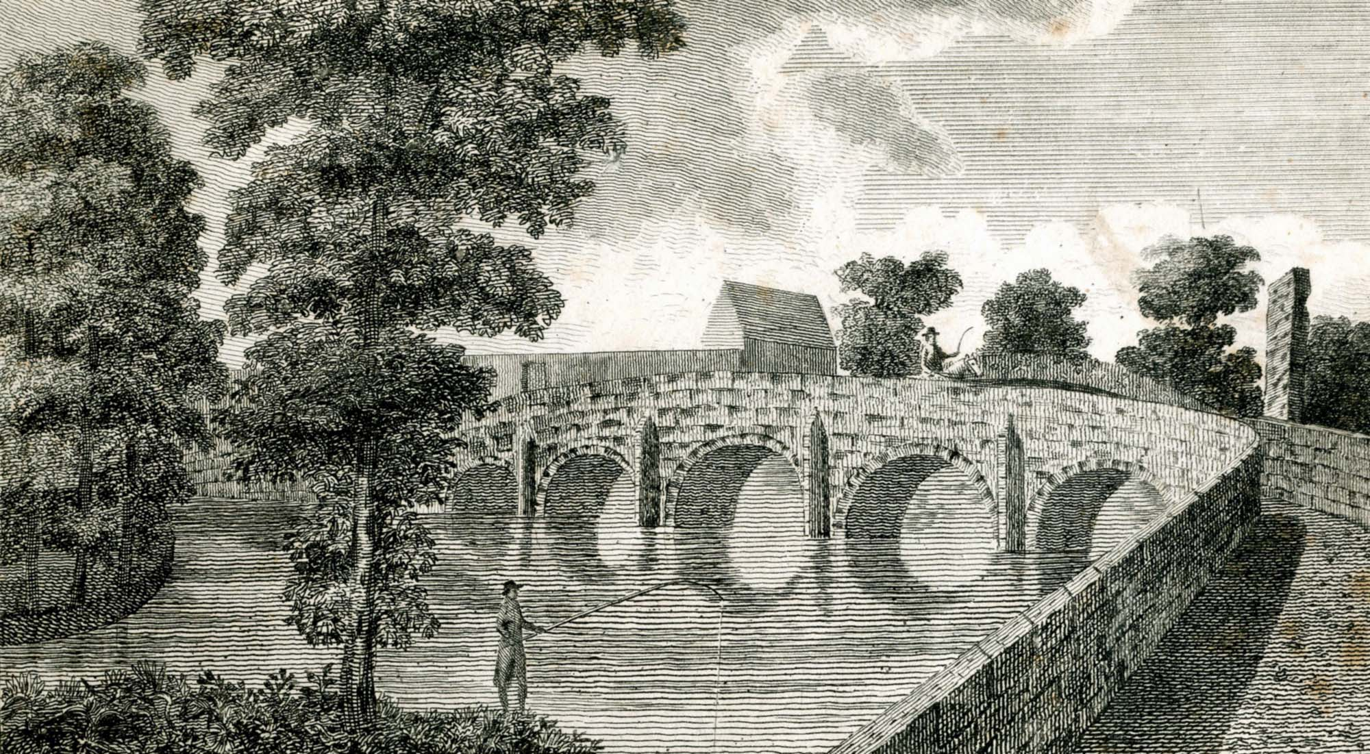 An engraving of 'King Richard's Bridge' by John Throsby, 1791 - University of Leicester Library Special Collections
