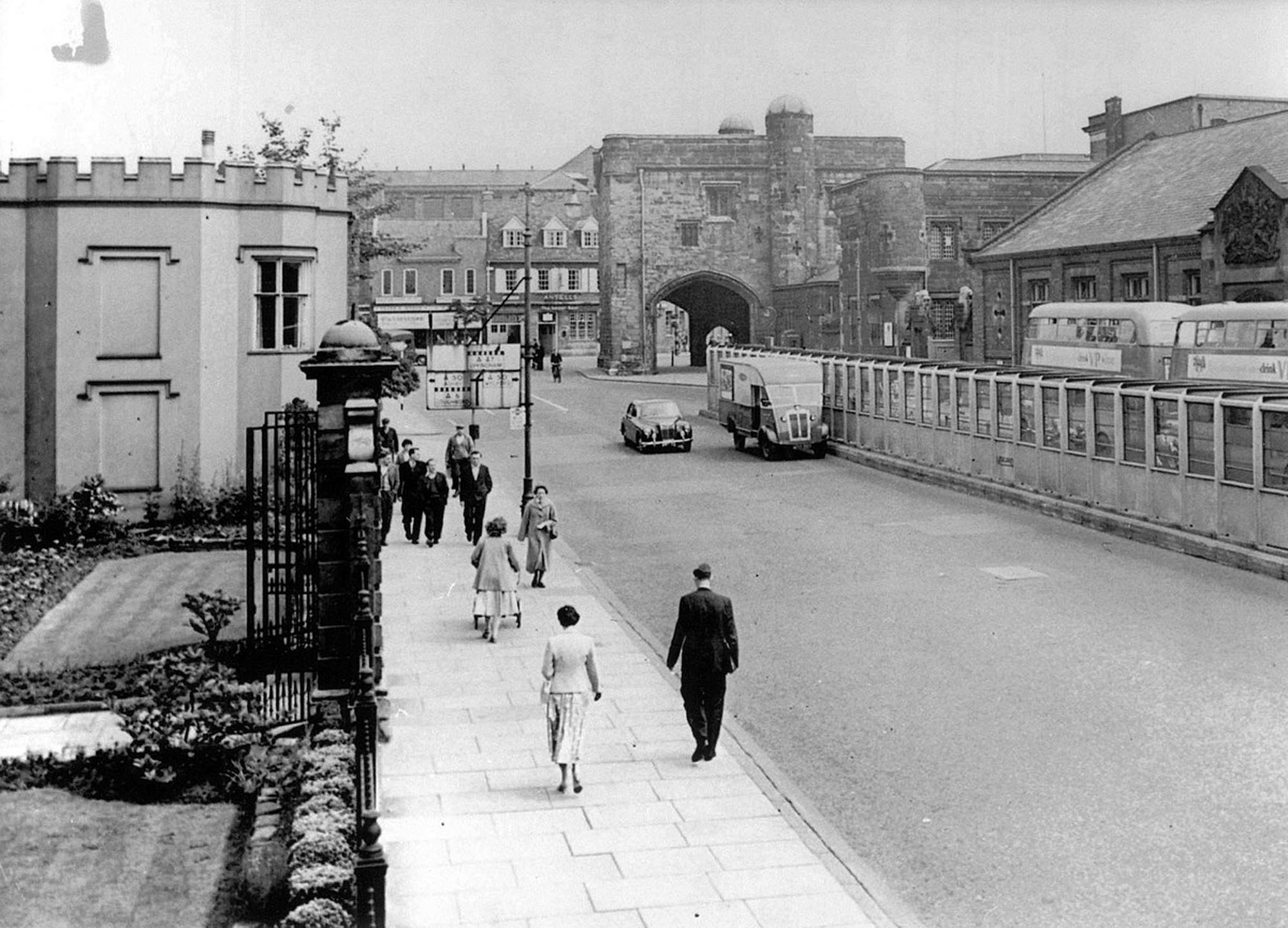 The Newarke looking towards The Magazine before 1963, when the militia barracks on the right were demolished - Leicestershire Record Office