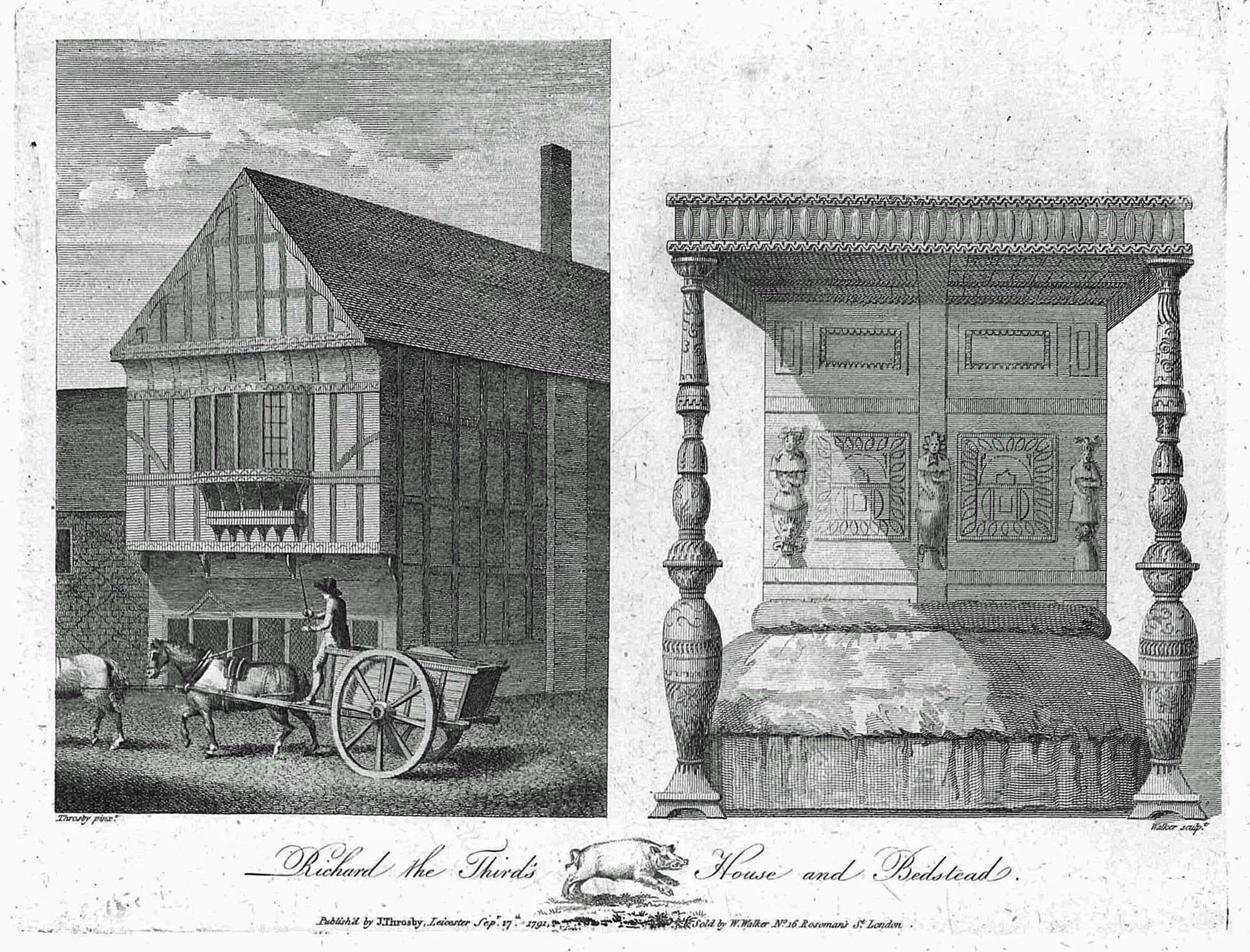 An 18th-century engraving of 'Richard the Third's House and Bedstead' by Leicester antiquary John Throsby - University of Leicester Library Special Collections