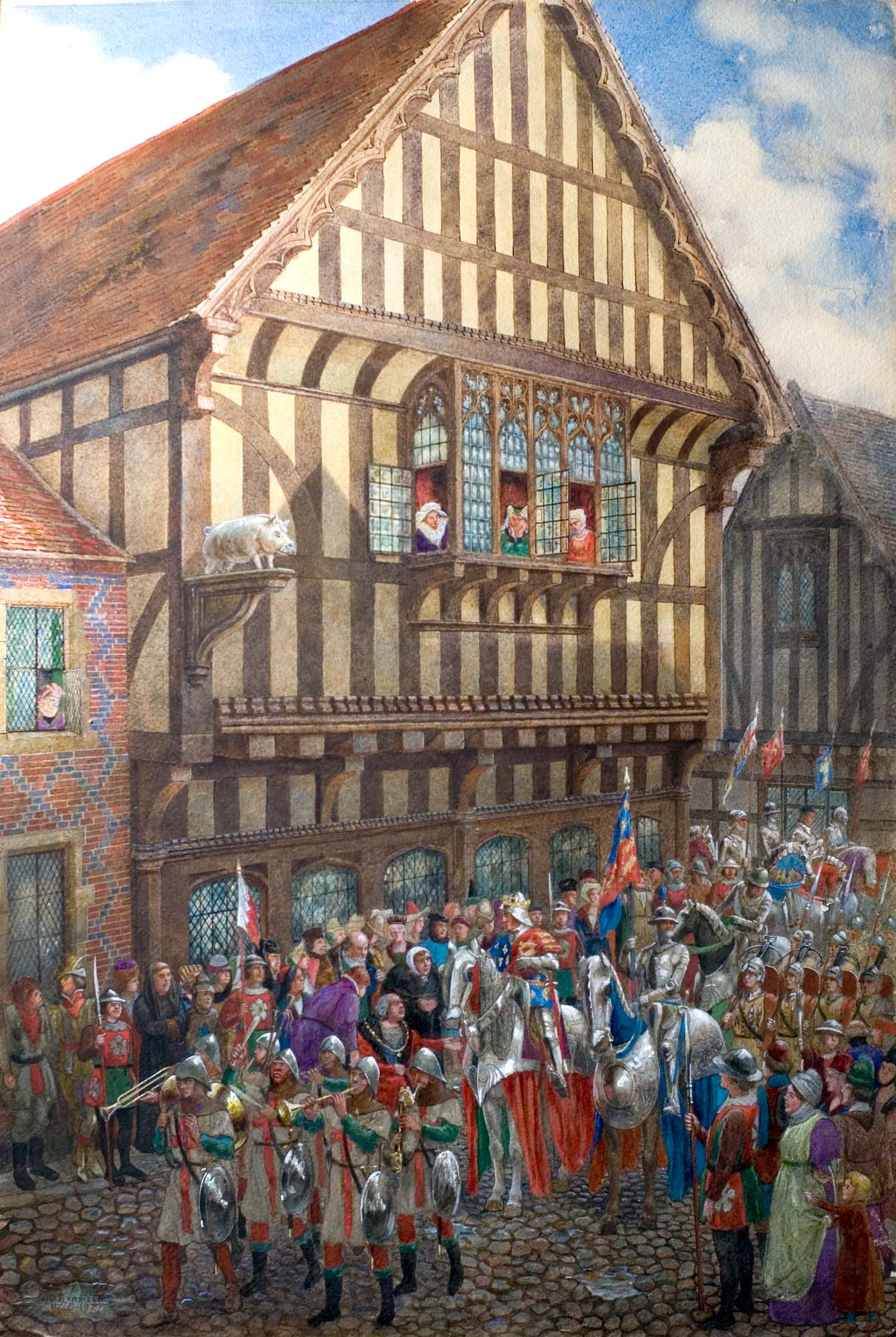 'King Richard III leaving the Blue Boar Inn' Thomas Charles Barfield, Watercolour, 1926 - From the collections of Leicester Museums