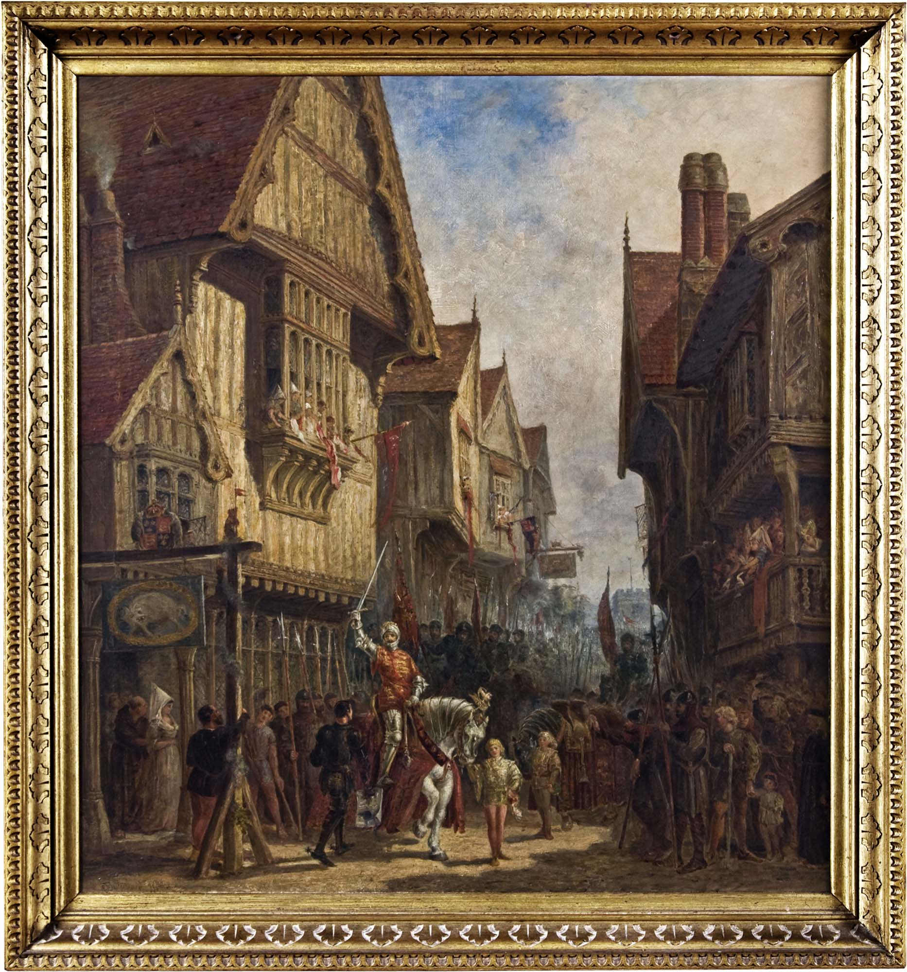 Richard III outside the Blue Boar Inn in Leicester. Oil on canvas, painted by Leicester-born artist John Fulleylove in 1880. - From the collections of Leicester Museums