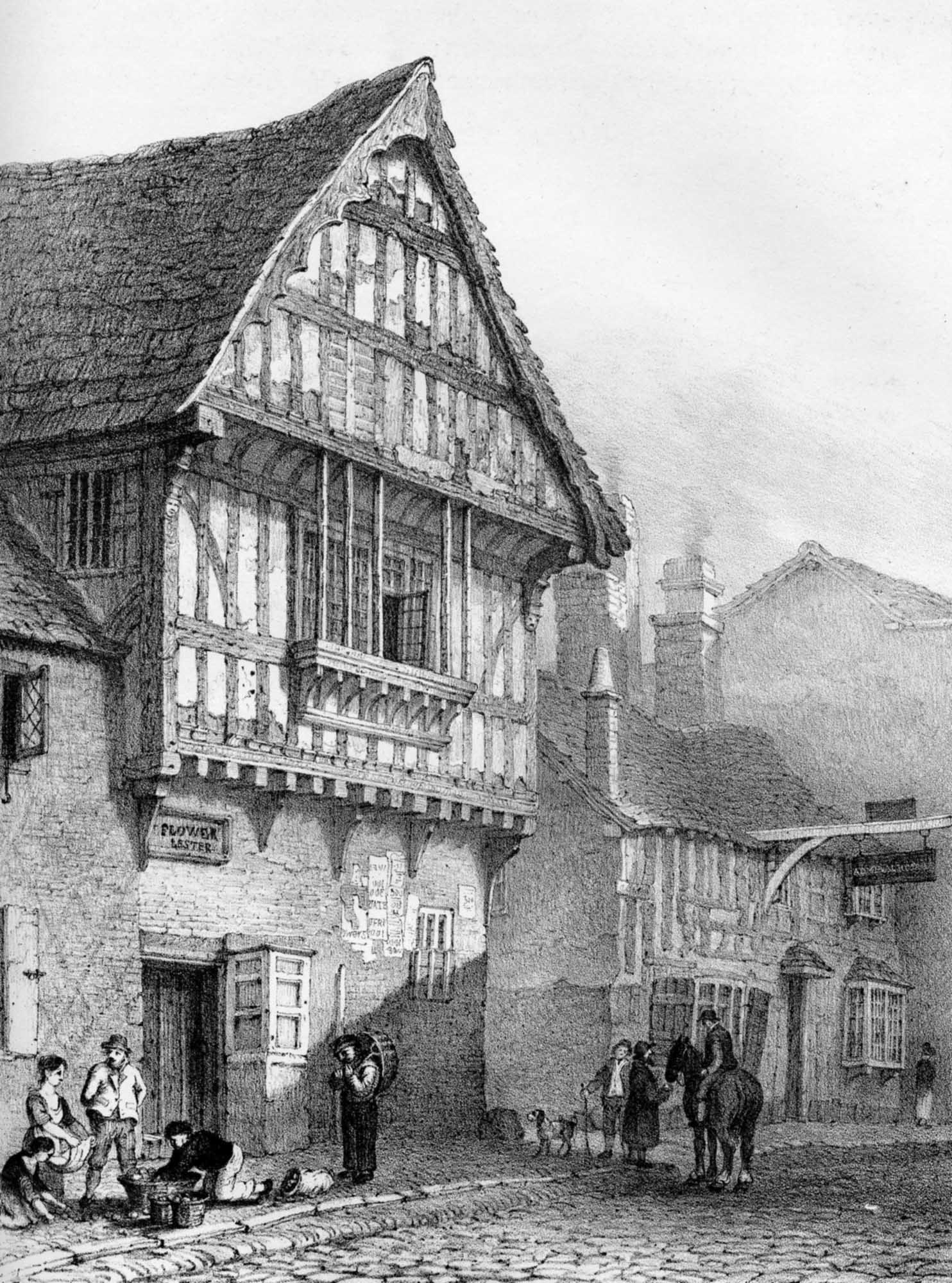 A 19th-century lithograph of the blue Boar Inn on Highcross Street, by Leicester artist John Flower - University of Leicester Library Special Collections