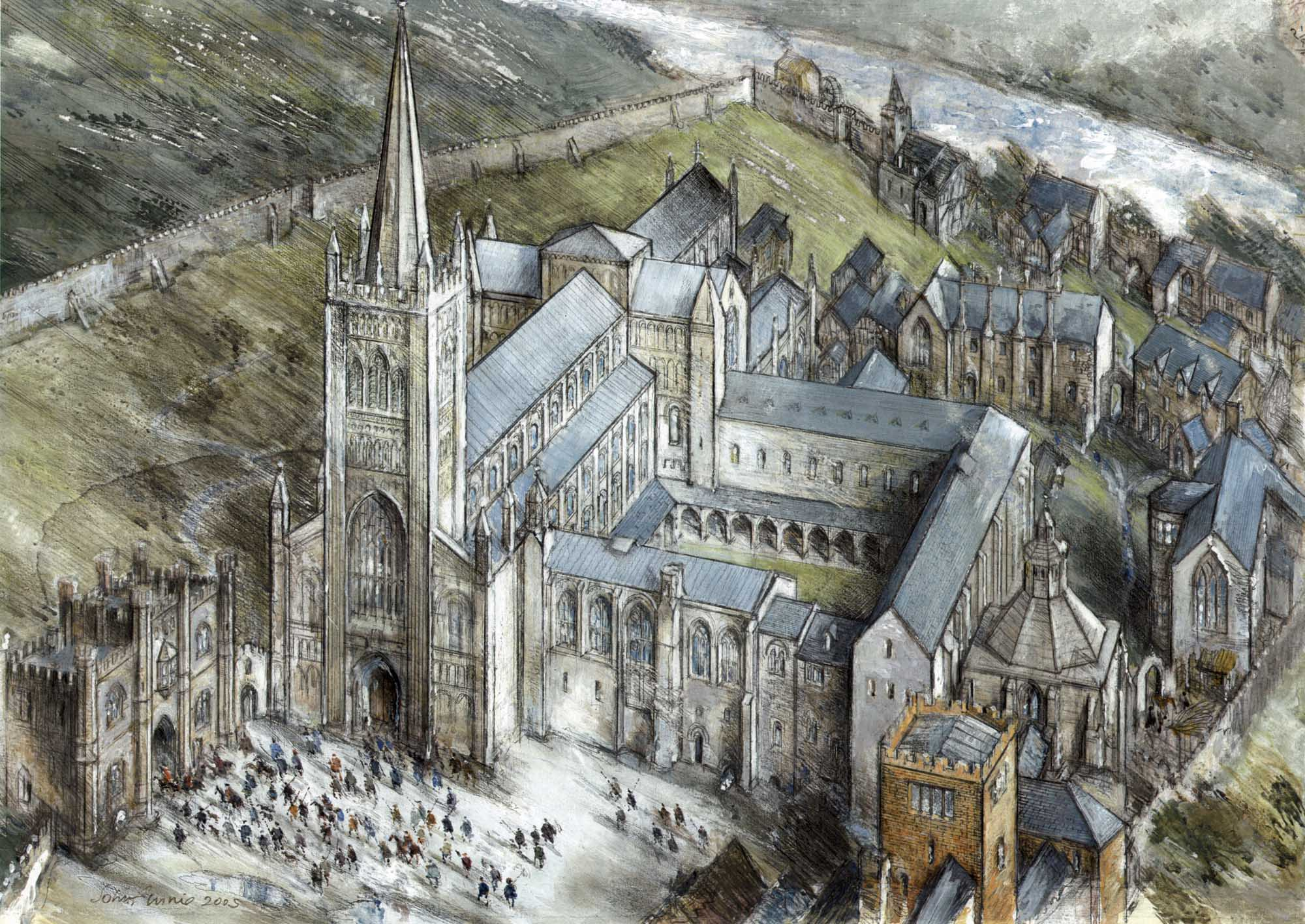 A artist impression of Leicester Abbey in its heyday - John Finnie