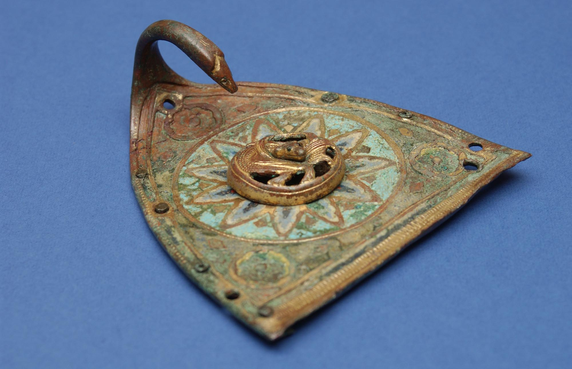 The hinged lid of a 13th-century Limoges enamel incense-boat, found in the sacristy at Leicester Abbey in 1930 -