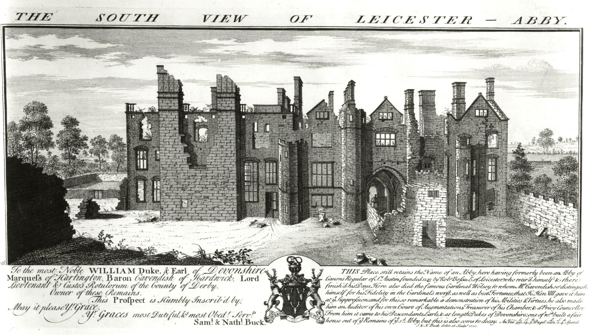 'The south view of Leicester Abby' by Samuel and Nathaniel Buck, 1730 -